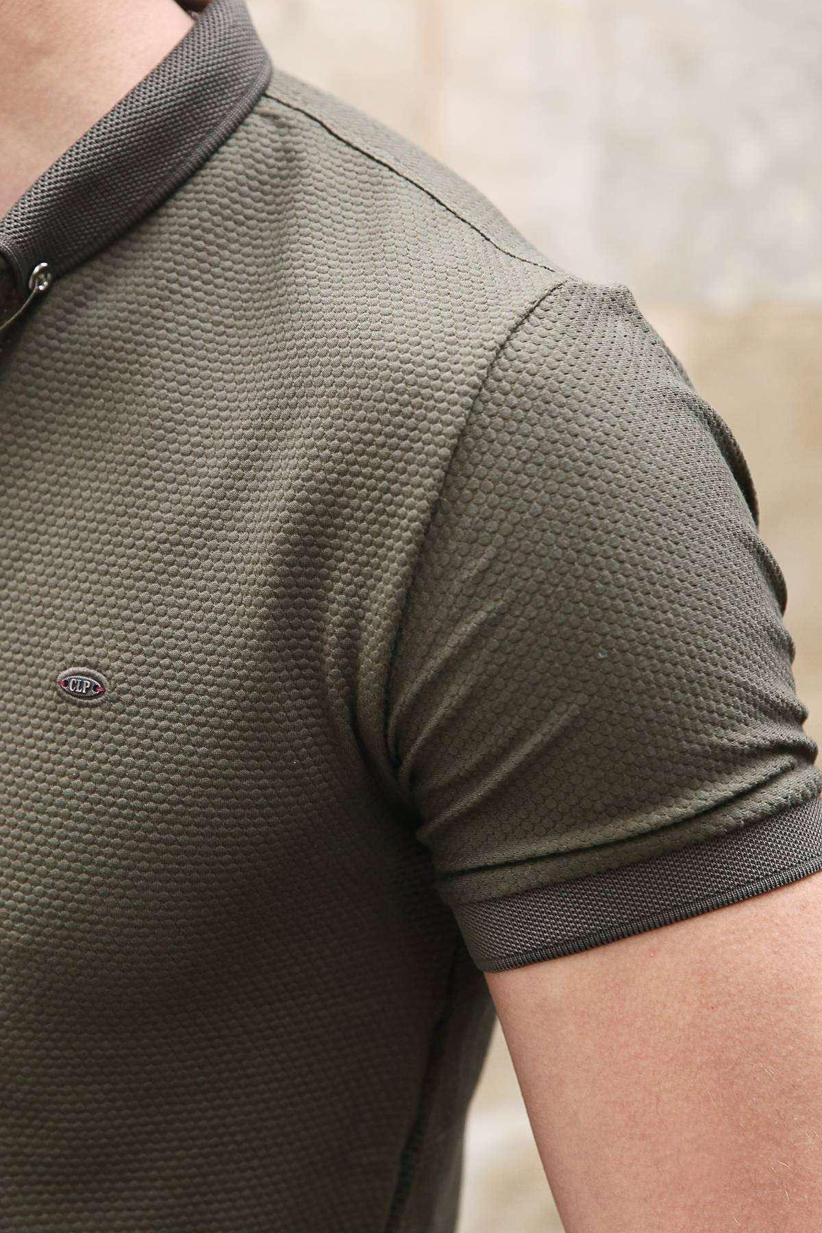Petek Desenli Polo Yaka Düğmeli Slim Fit Tişört Haki