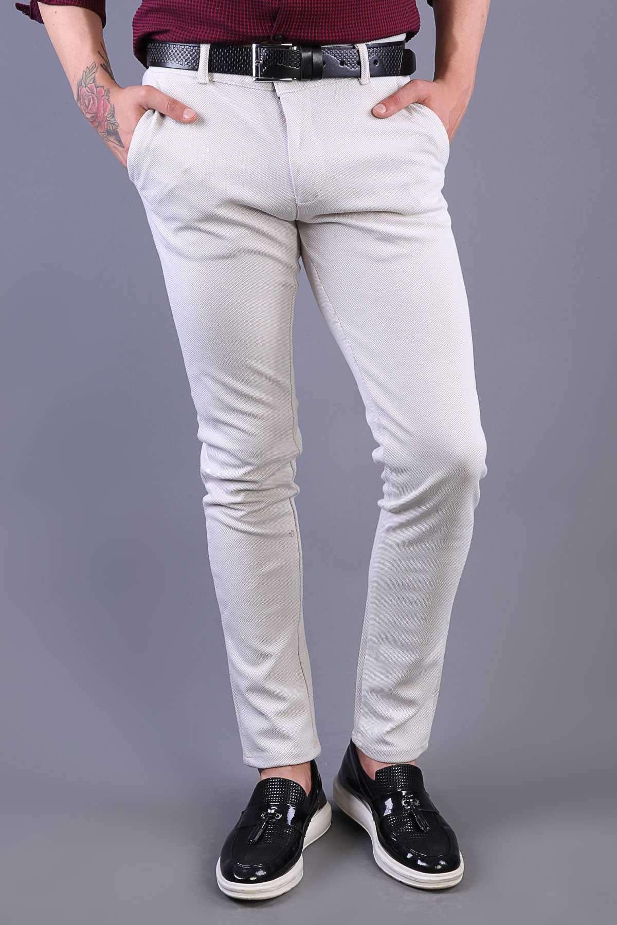 Petek Desenli Slim Fit Pantolon Krem