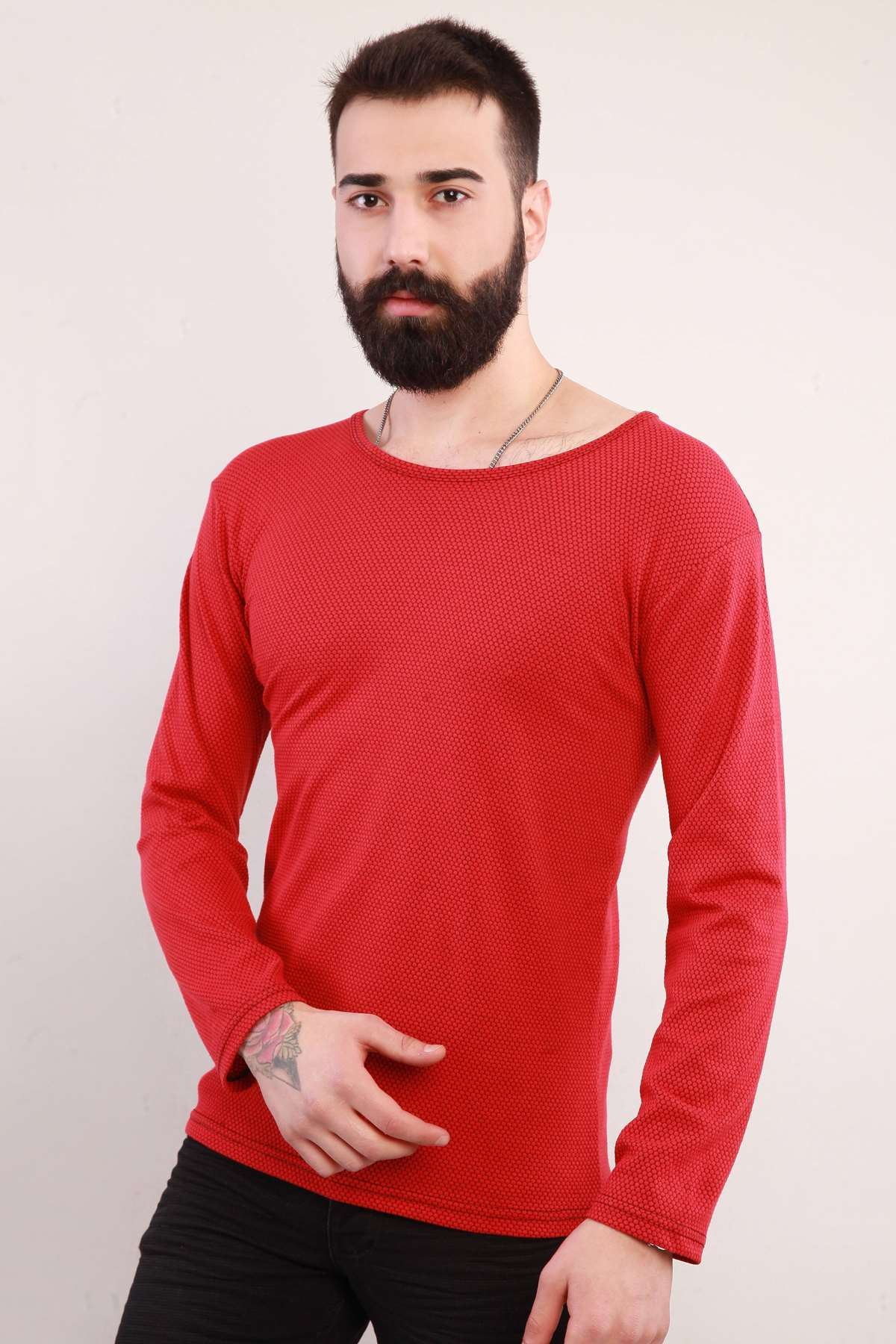 Petek Desen 0 Yaka Sweatshirt Kırmızı