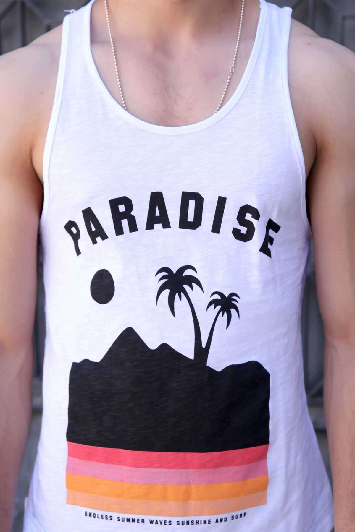 Paradise Yazılı Palmiye Baskılı Slim Fit Atlet Beyaz