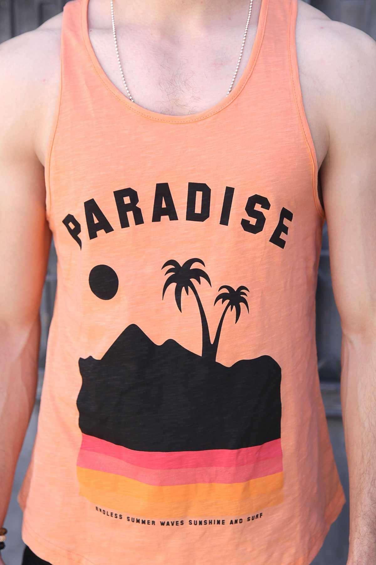 Paradise Yazılı Palmiye Baskılı Slim Fit Atlet Turuncu
