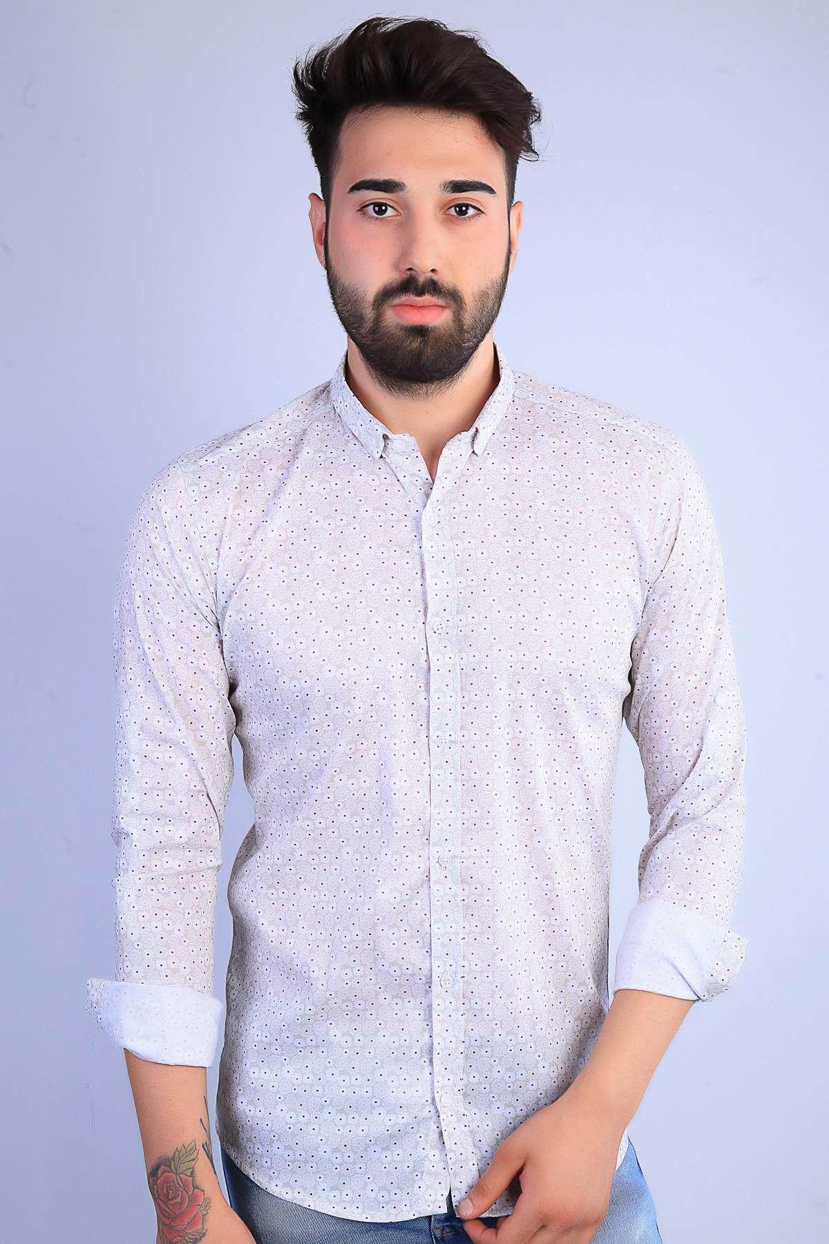 Papatya Desenli Klasik Yaka Dijital Slim Fit Gömlek Bej