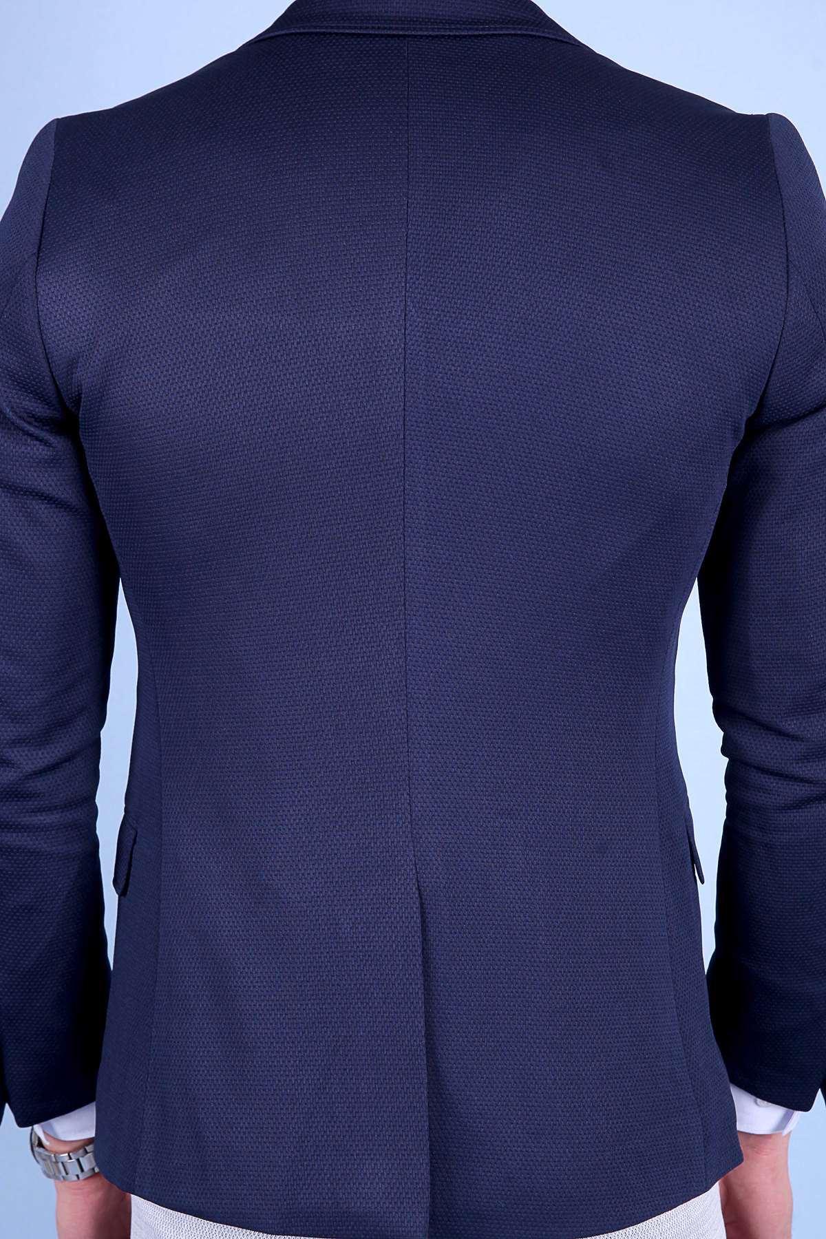 Petek Desenli İçi Astarlı Slim Fit Ceket Koyu Lacivert