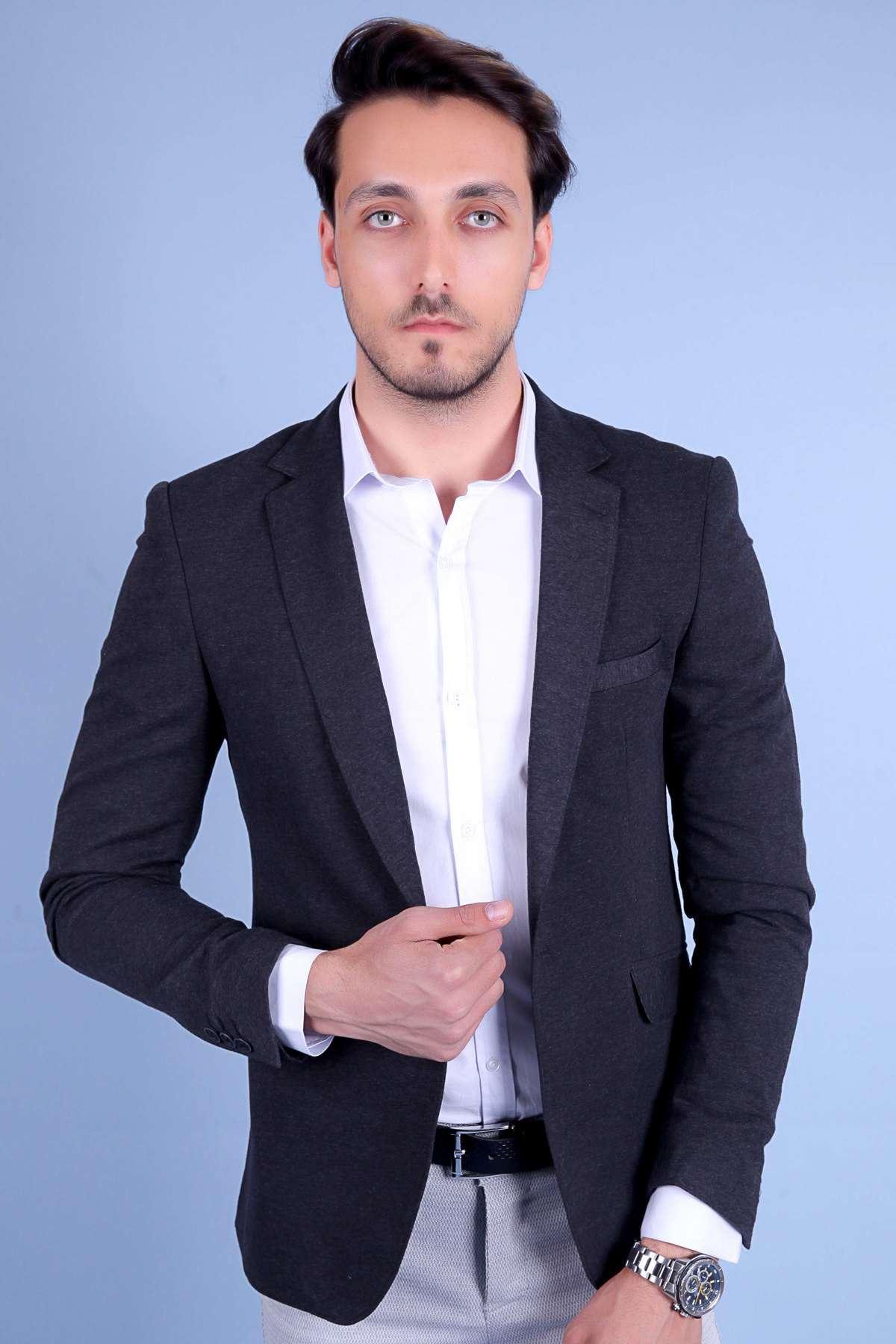 Penye Kumaş Slim Fit Blazer Ceket Antrasit