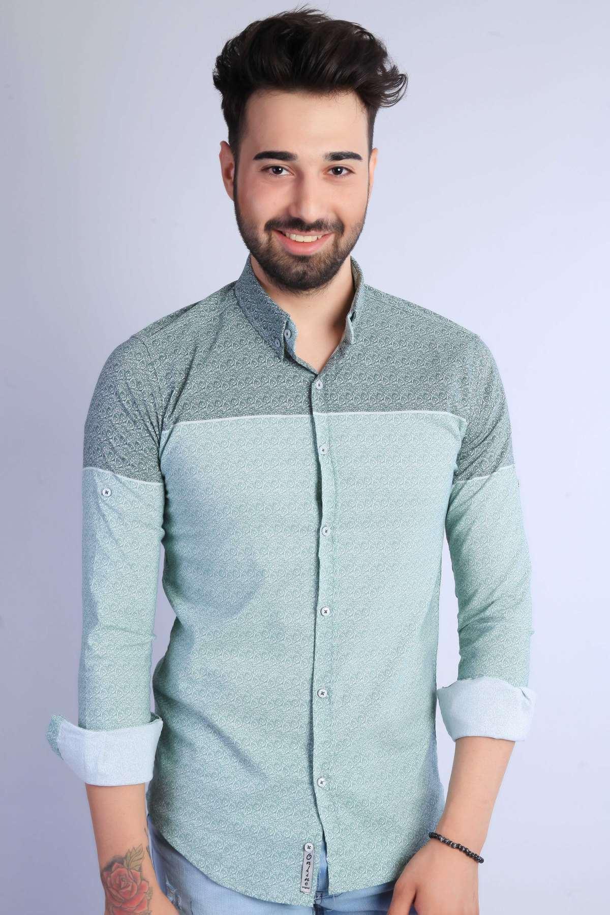 Pano Desenli Yaka Düğmeli Slim Fit Gömlek Haki