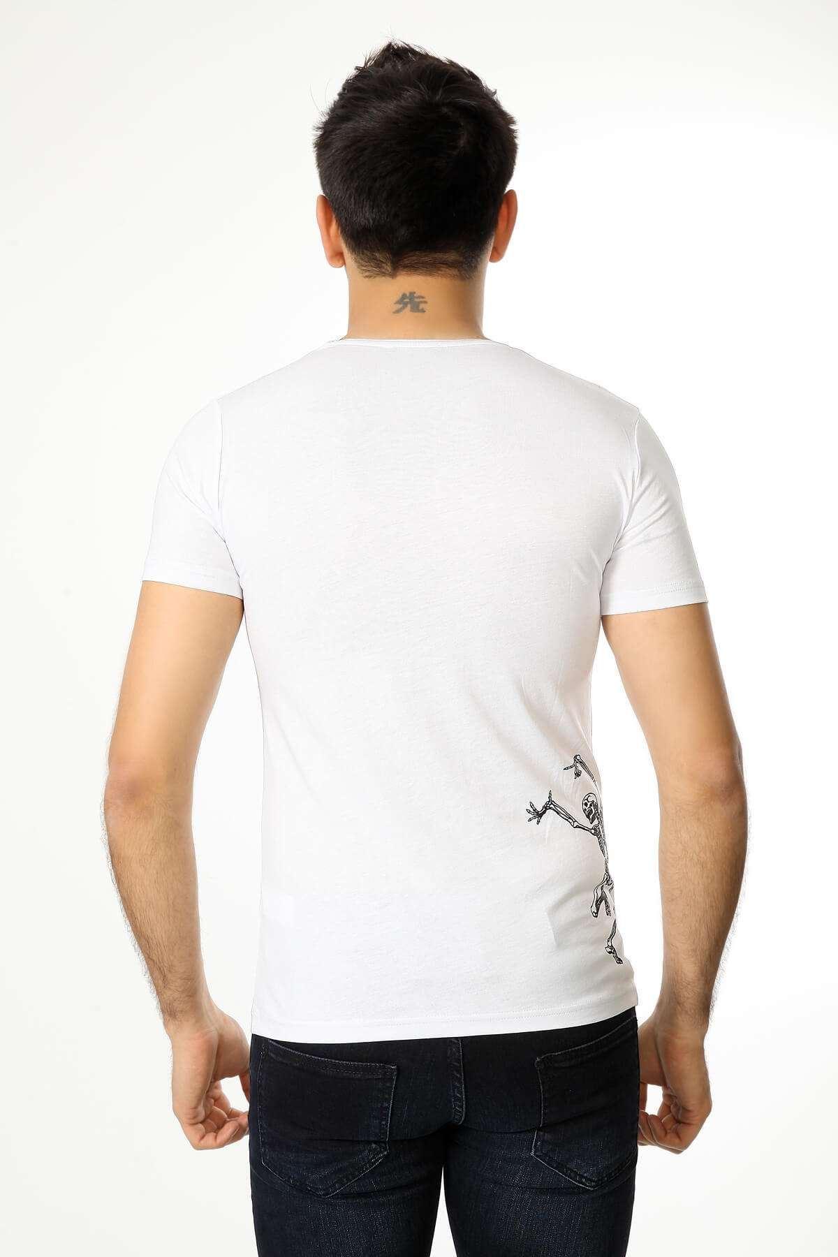 Parçalı Kuru Kafa Baskı Tişört Beyaz
