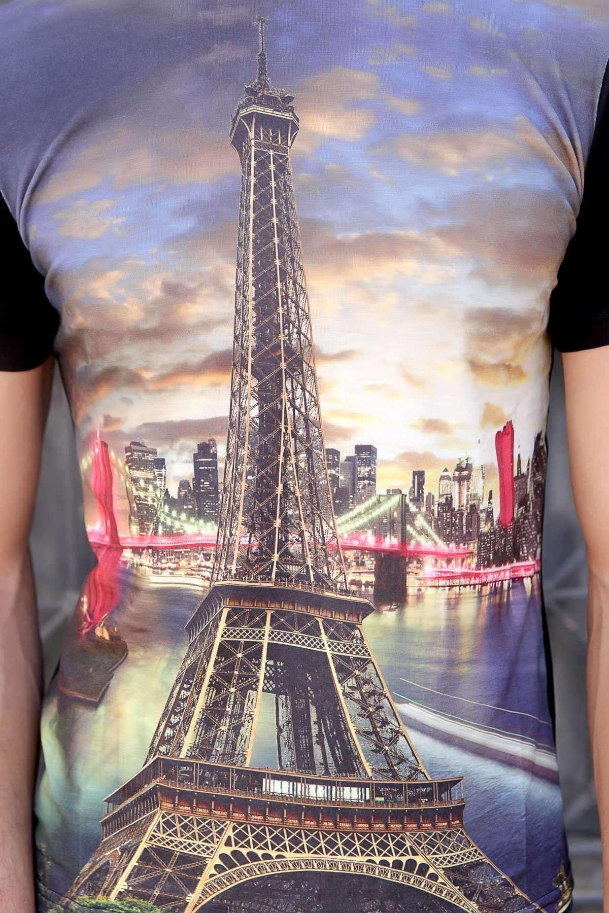 Paris Kule Baskı Sıfır Yaka Dijital Tişört Siyah