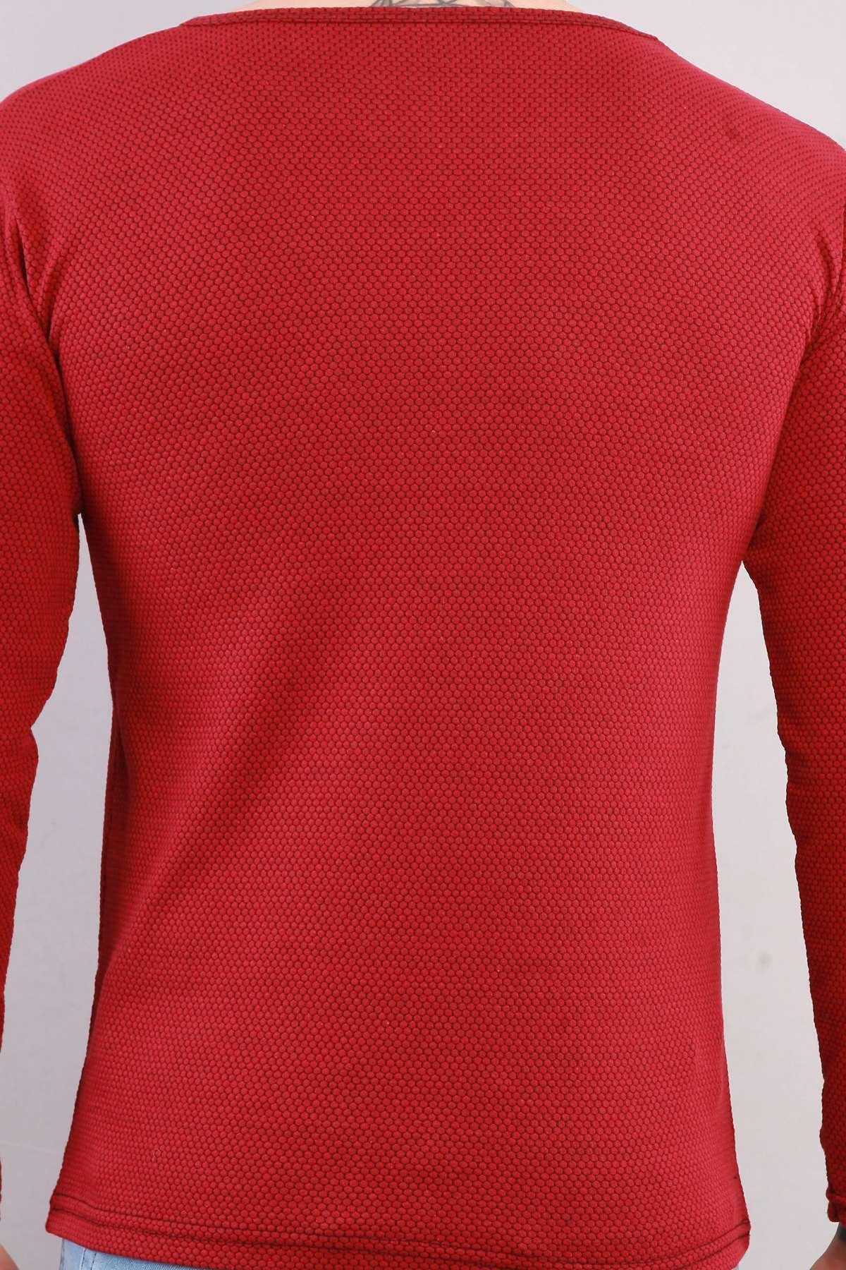 Petek Desen 0 Yaka Sweatshirt Bordo