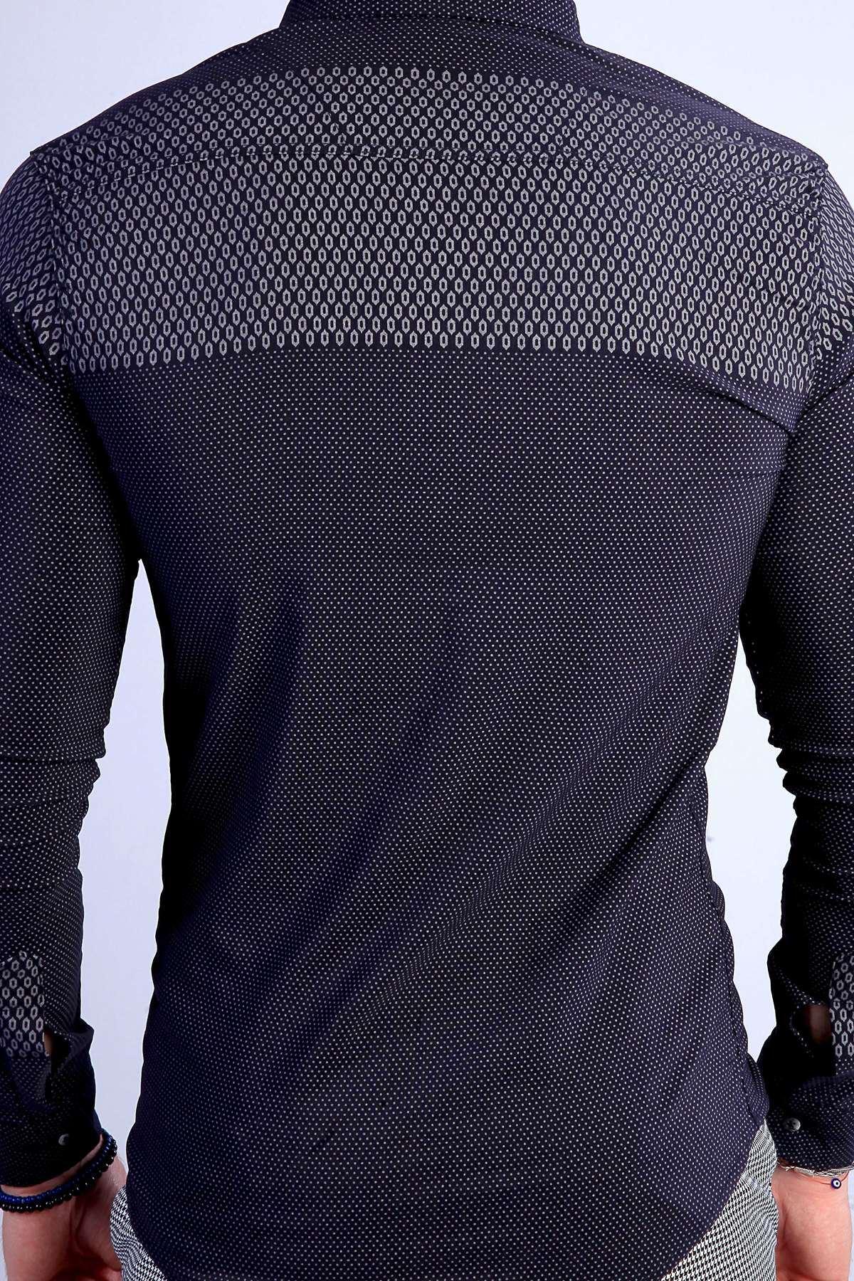 Pano Baskılı Noktalı Slim Fit Gömlek Lacivert