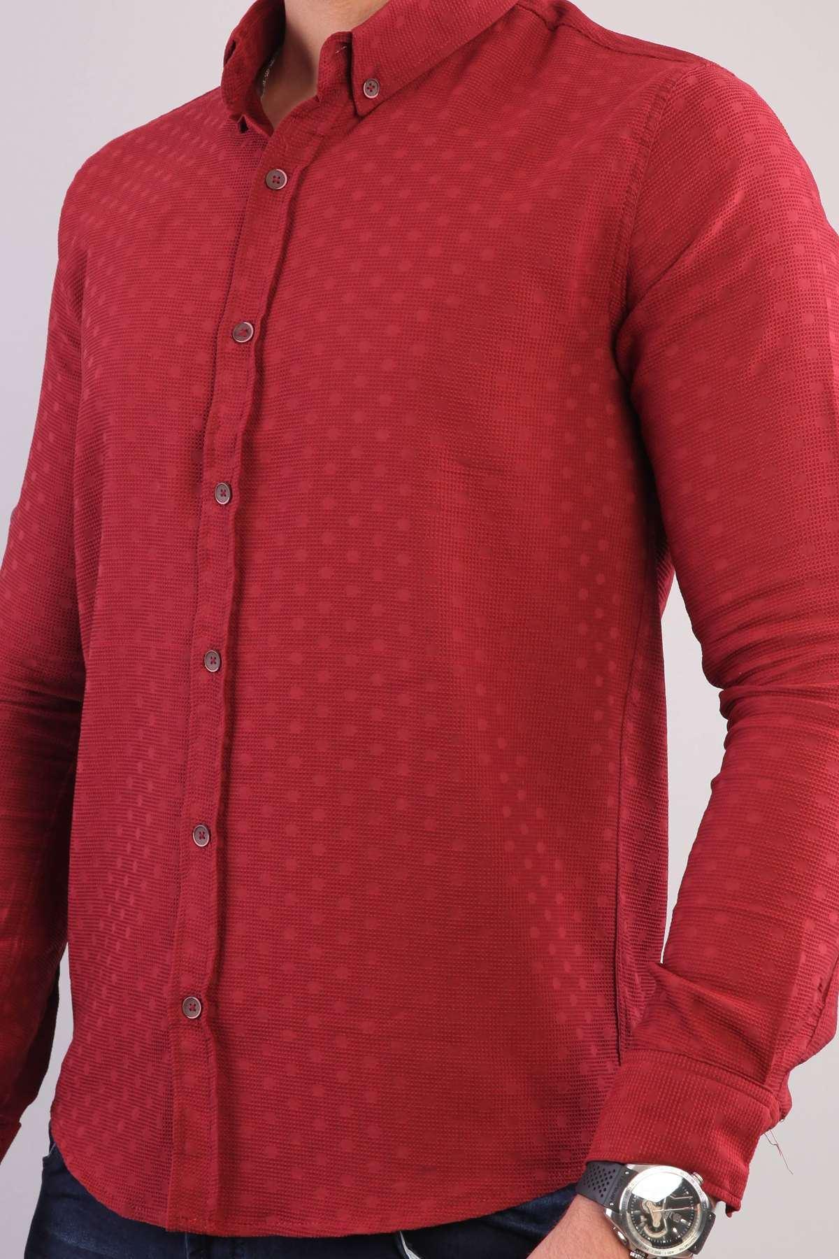 Puanlı Kesik Çizgi Desenli Slim Fit Gömlek Kırmızı