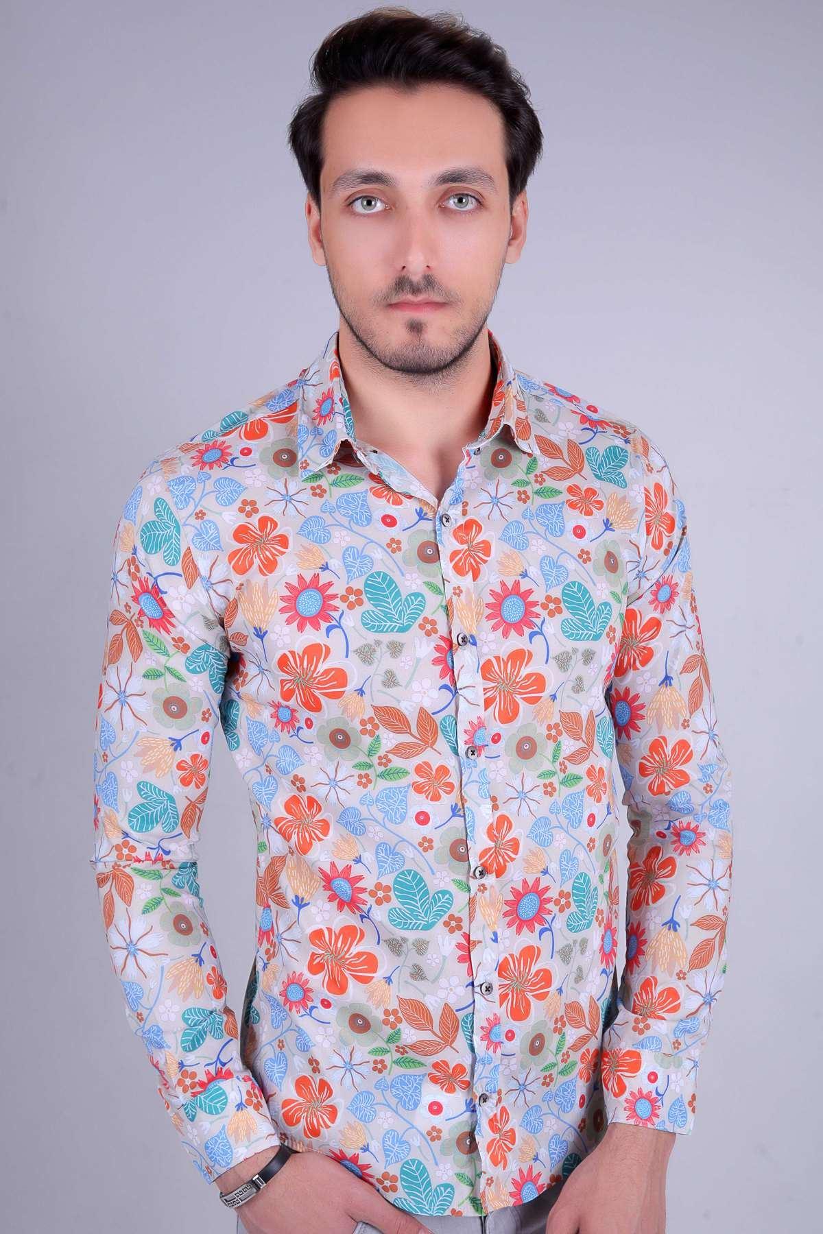 Renkli Karmaşık Çiçek Baskılı Digital Uzun Kol Gömlek Bej