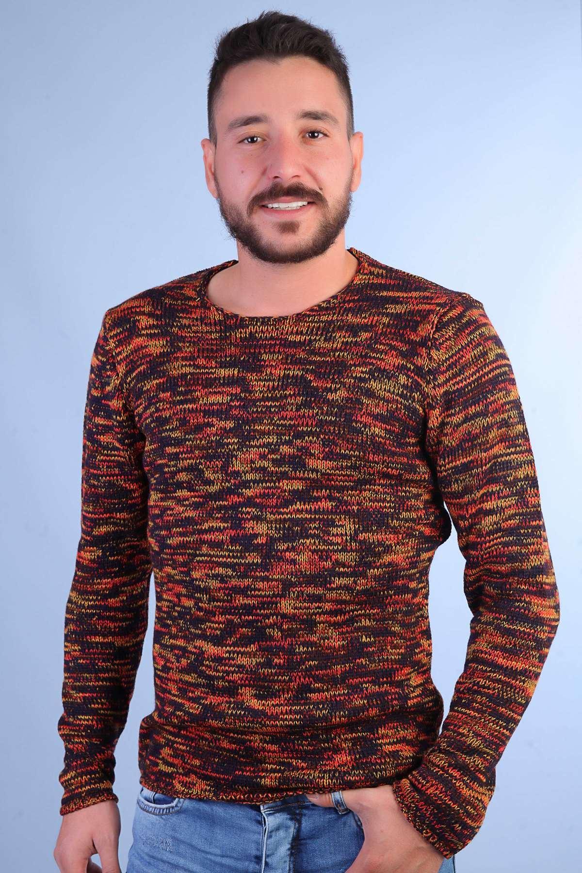 Renkli Triko Kazak Kırmızı