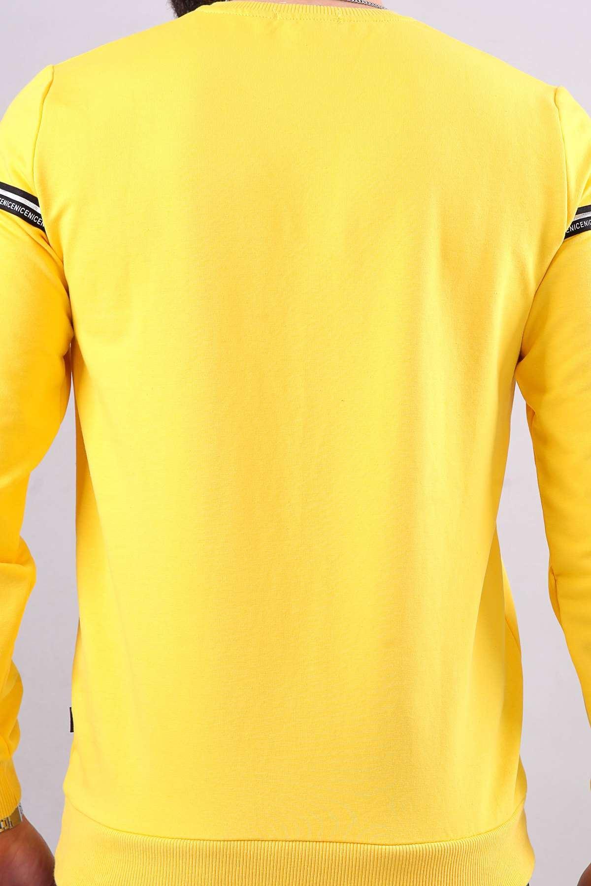 Reklan Kol Parlak Şerit Yazılı Sweatshırt Sarı