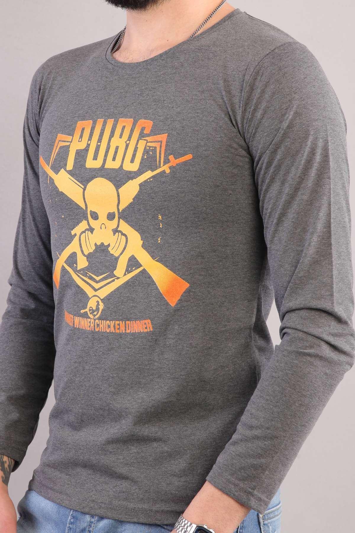 Pubg Yazılı Kuru Kafa Silah Baskılı Sweatshirt Antrasit