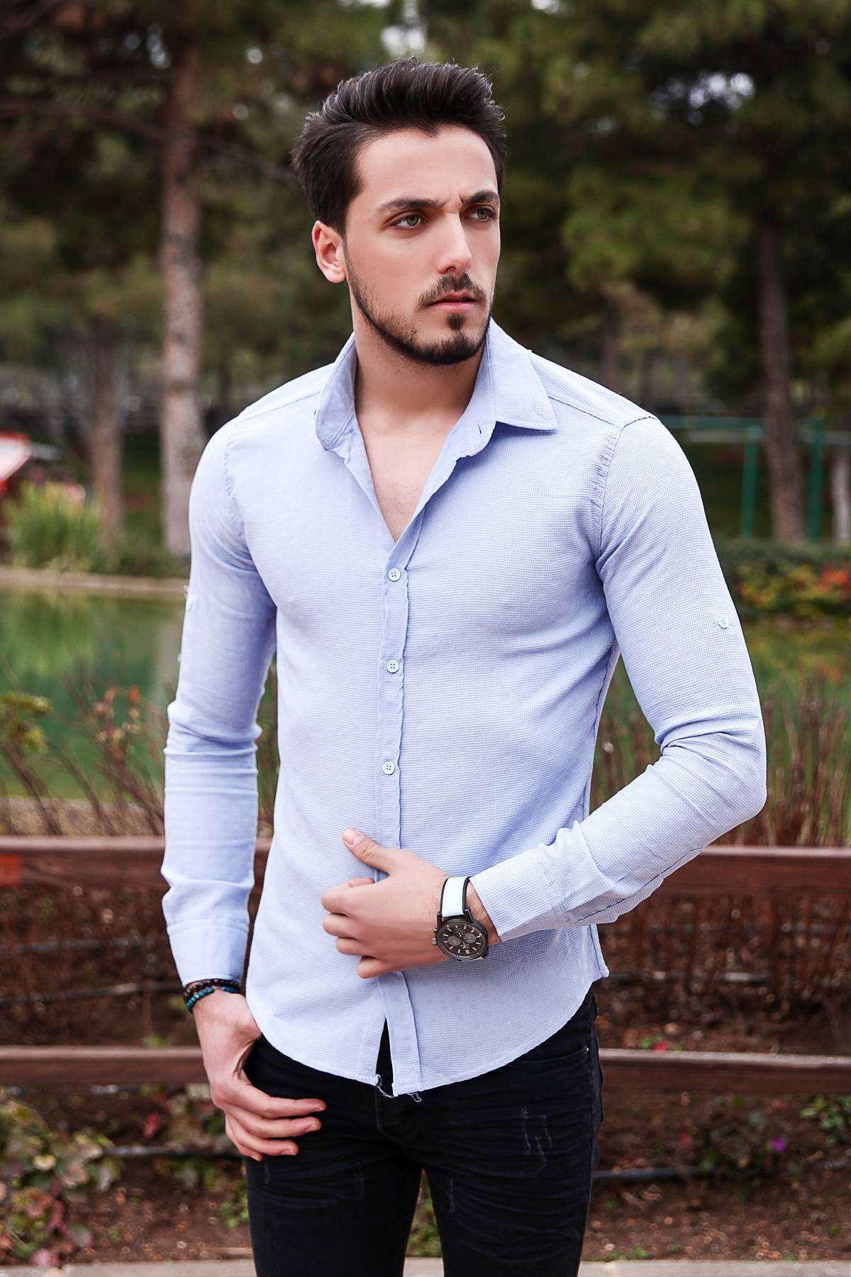 Puanlı Kesik Çizgi Desenli Slim Fit Gömlek Mavi