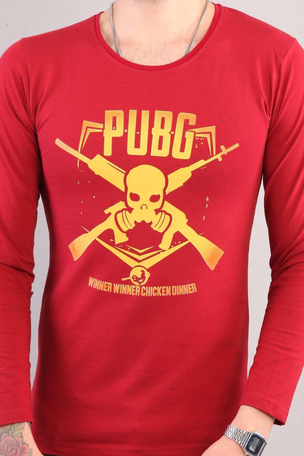 Pubg Yazılı Kuru Kafa Silah Baskılı Sweatshirt Bordo