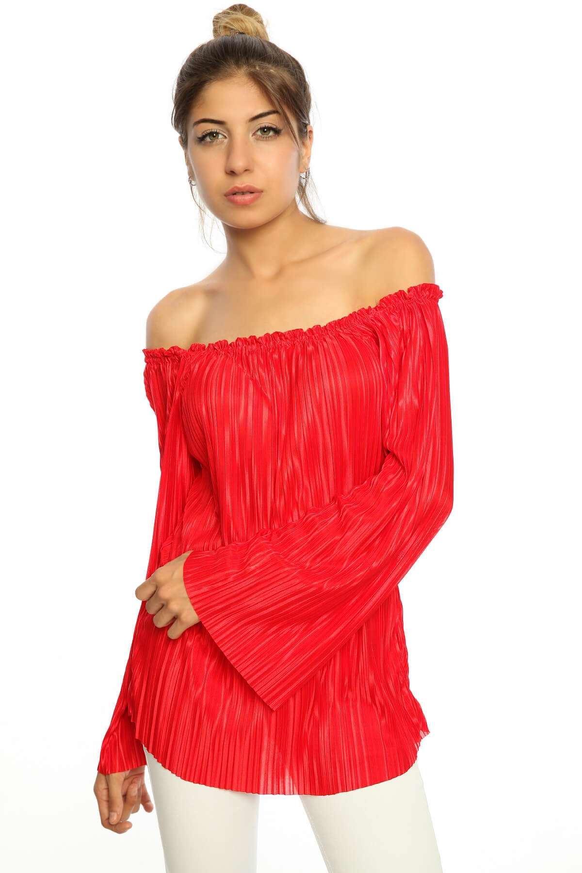 Pliseli Parlak İspanyol Uzun Kol Bluz Kırmızı