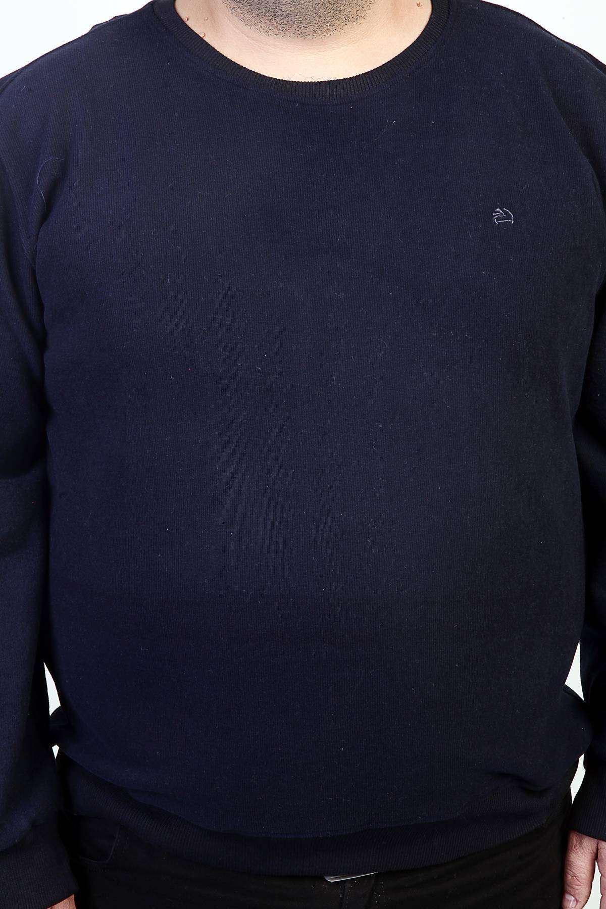 Sıfır Yaka Selanik Süper Battal Sweatshirt Lacivert