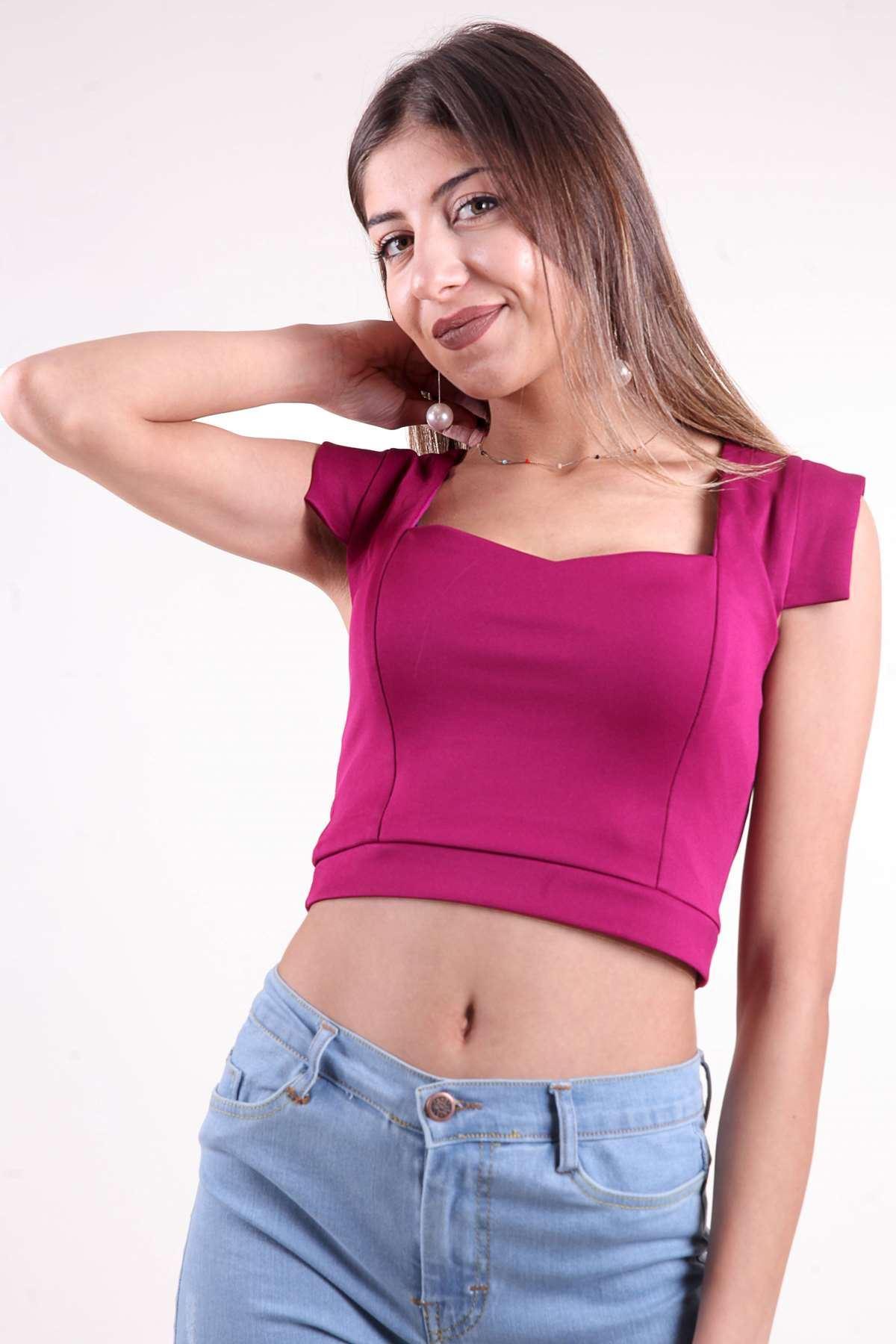 Sırt Ve Göğüs Dekolte Mini Bluz Mürdüm
