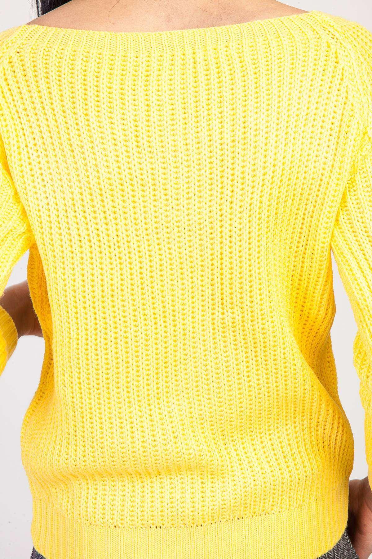Saç Örgü Desenli Kol Fitil Detaylı Zincirleme Triko Sarı
