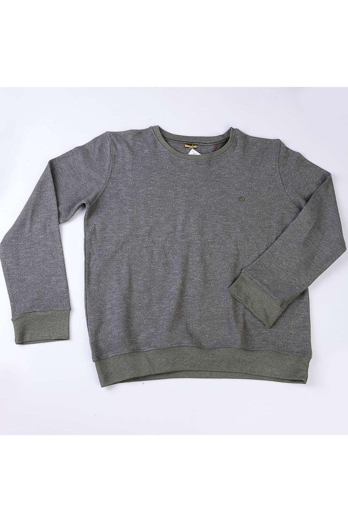 Sıfır Yaka Selanik Süper Battal Sweatshirt Haki