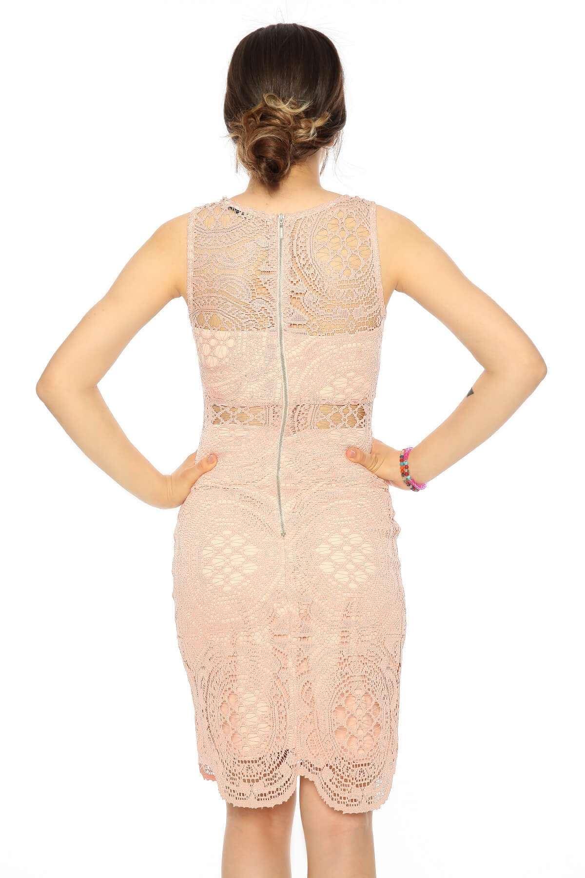 Sıfır Kol Güpürlü Elbise Pempe