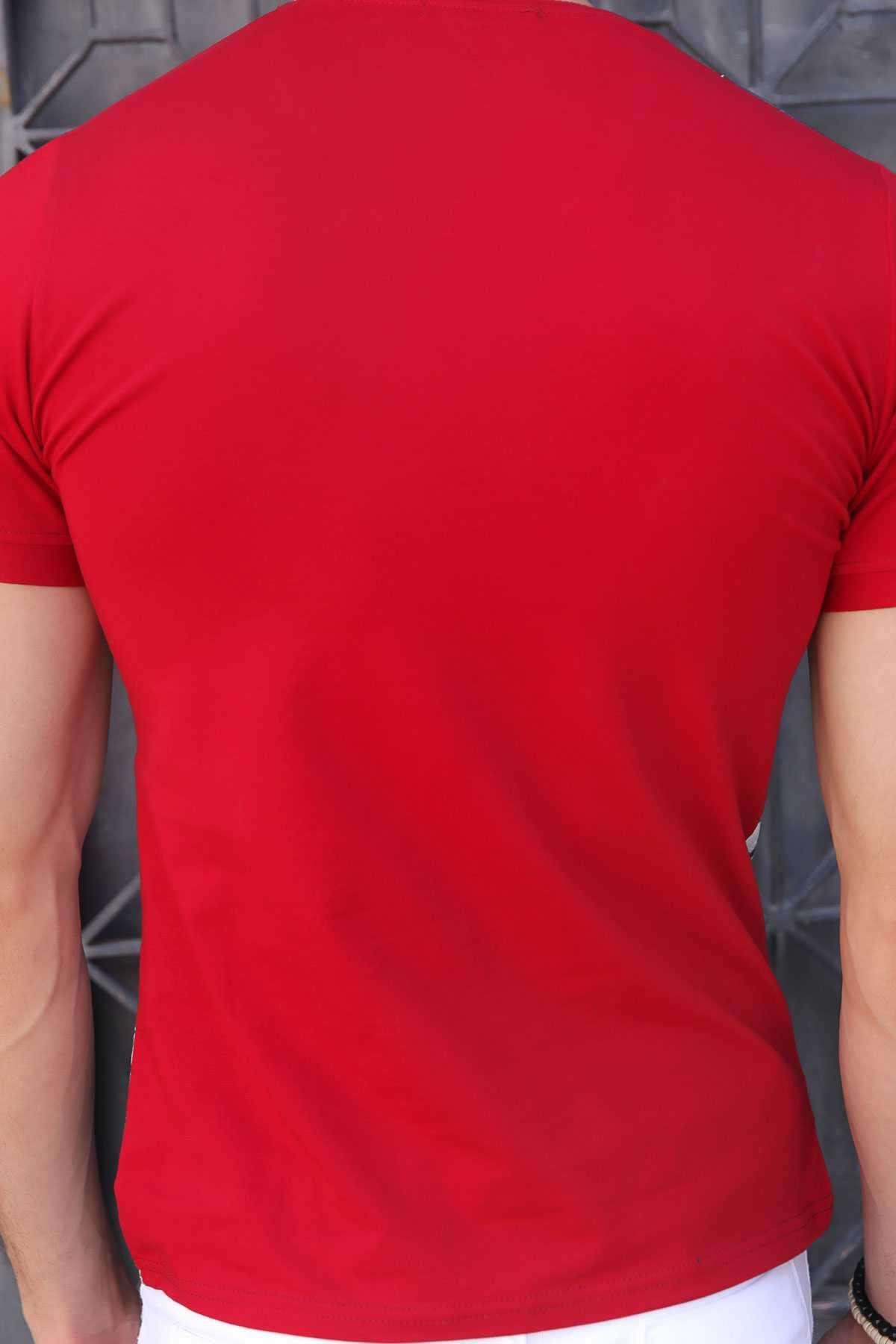 Sarı Araba Baskı V Yaka Dijital Tişört Bordo