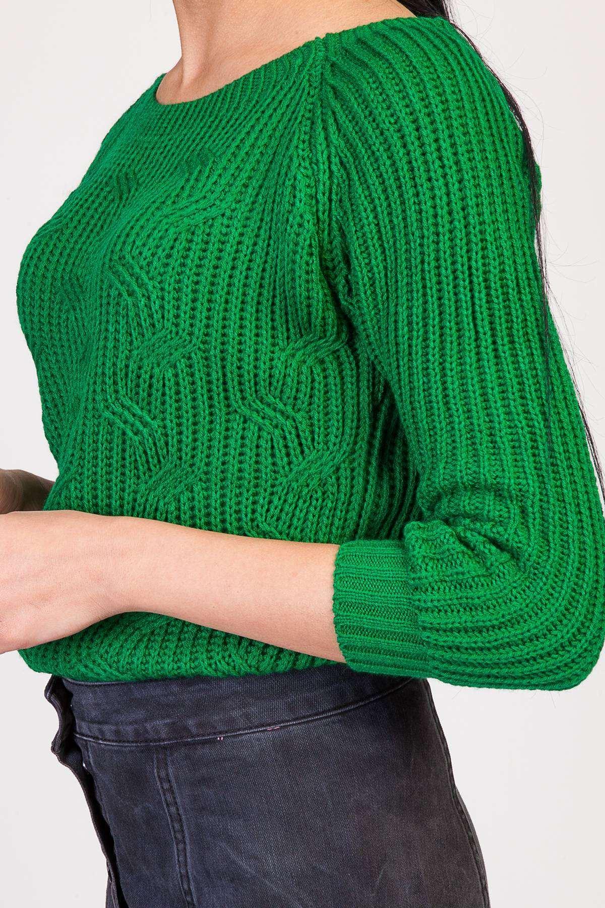 Saç Örgü Desenli Kol Fitil Detaylı Zincirleme Triko Yeşil