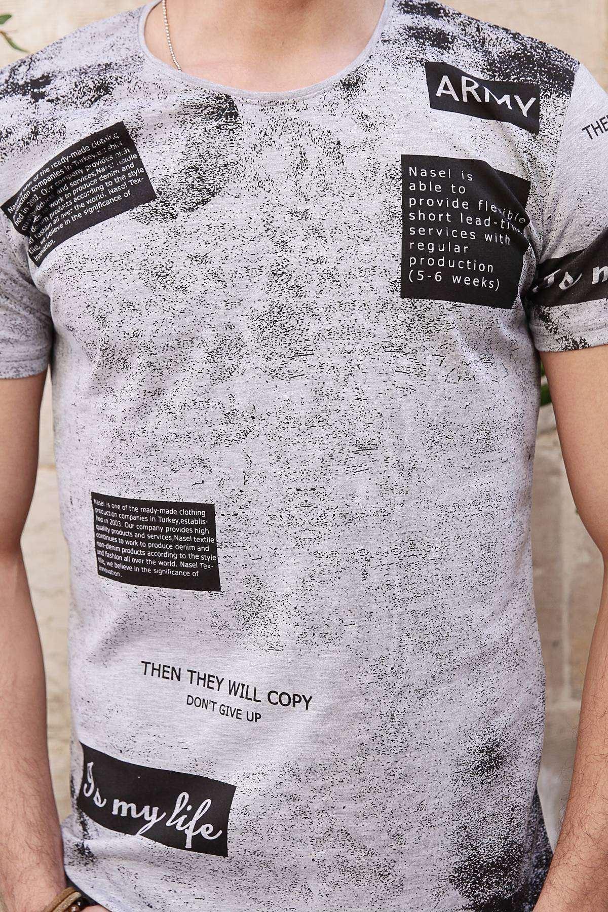 Serpme Boya Baskılı Army Yazılı Slim Fit Tişört Gri
