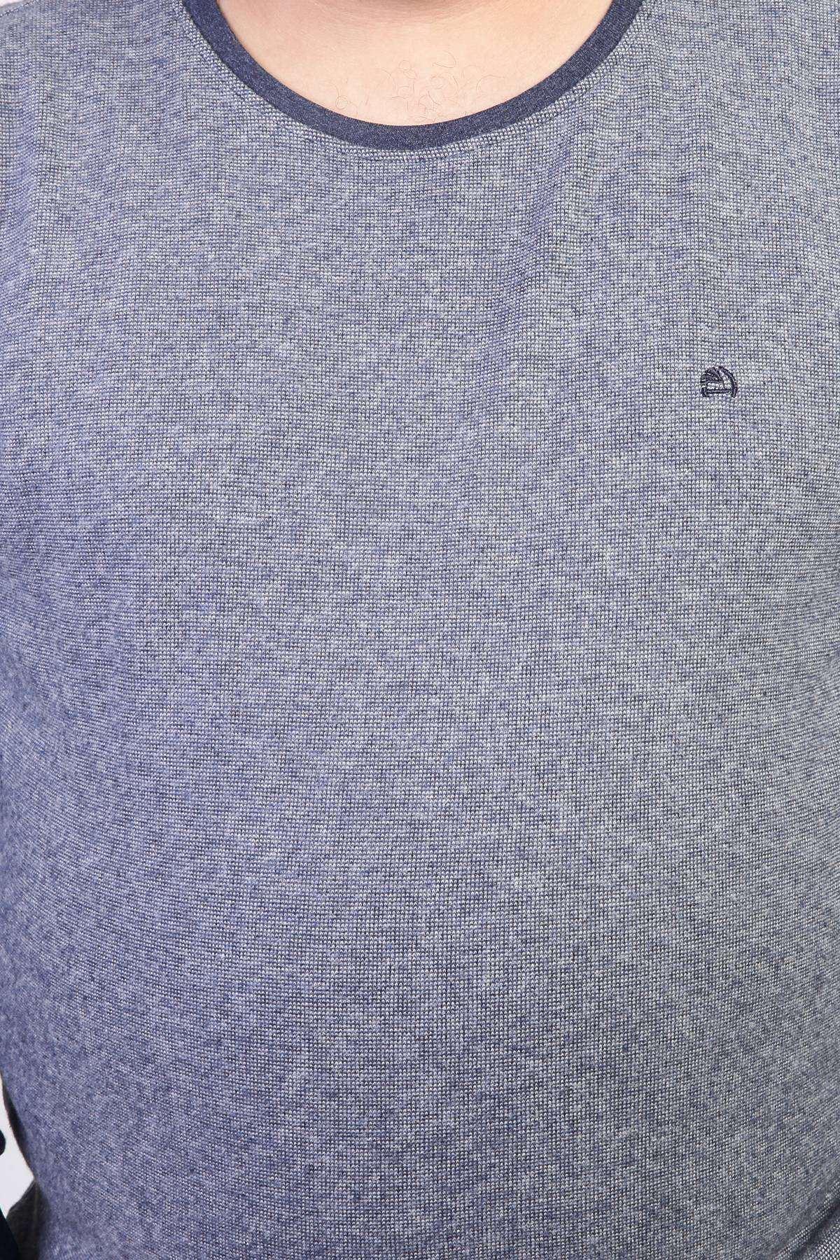 Sıfır Yaka Selanik Kırçıllı Süper Battal Sweatshirt Mavi