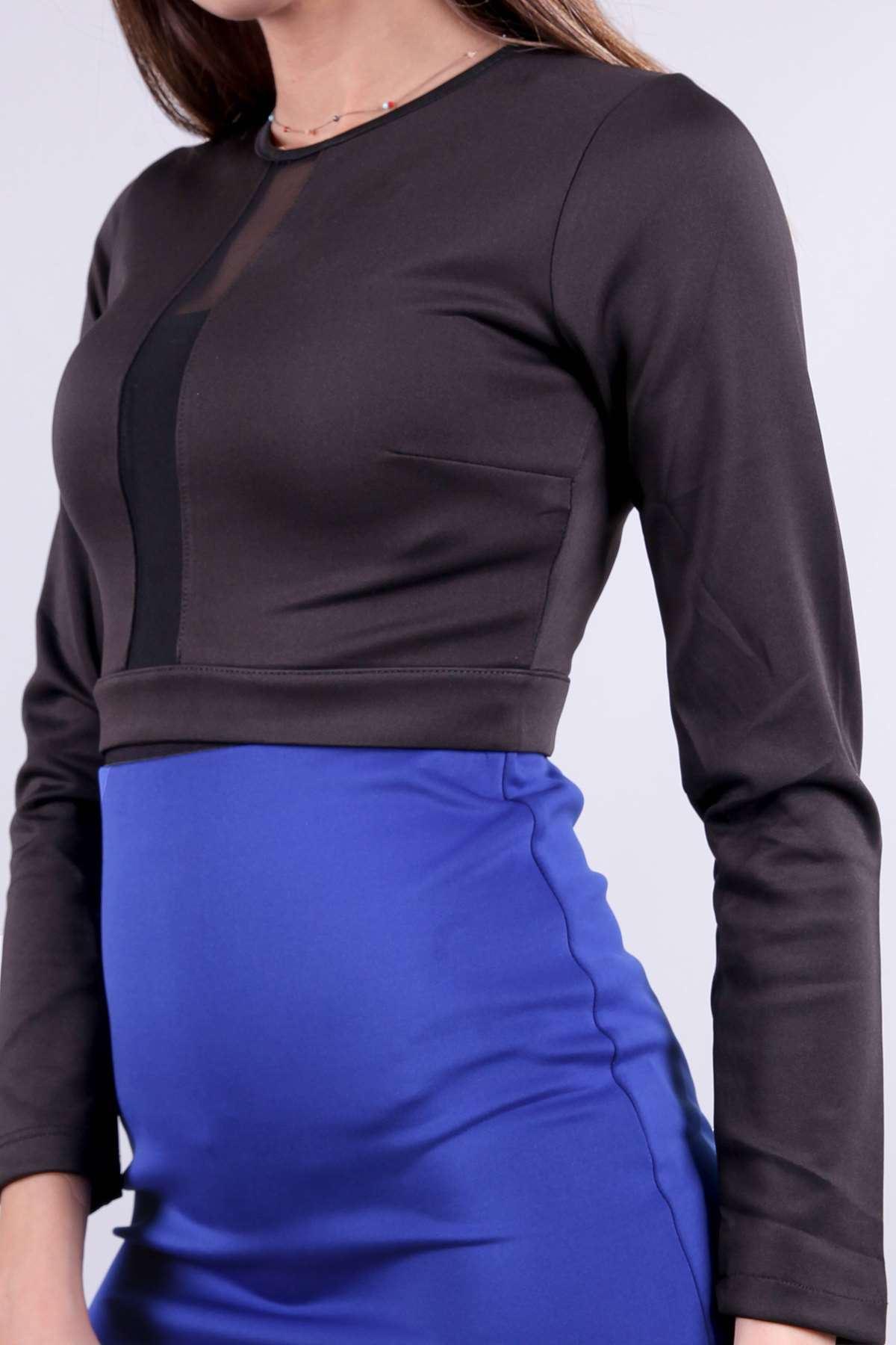 Sırt Fermuarlı Tül Detaylı Mini Bluz Siyah