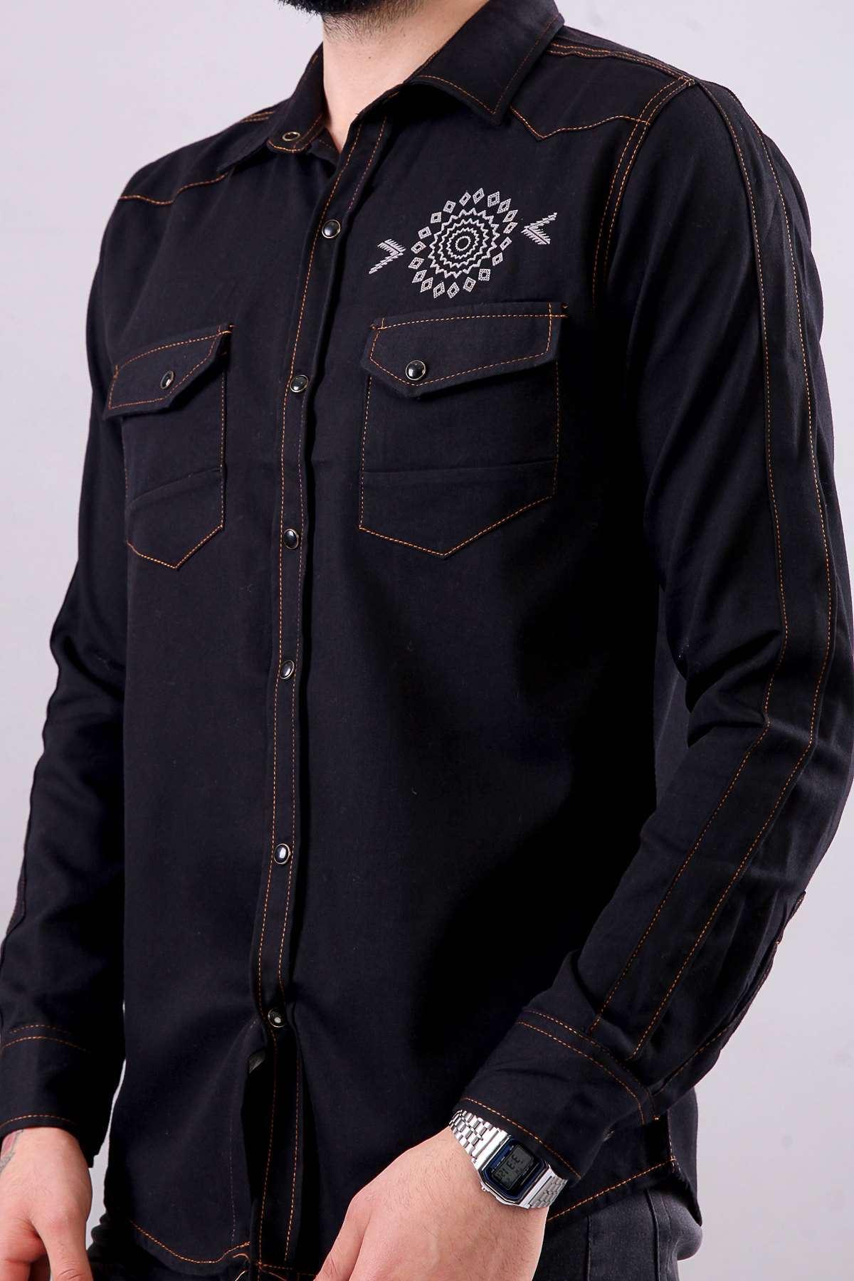 Sırt Yazılı Çıt Çıt Düğmeli Göğüs Baskılı Kot Gömlek Siyah