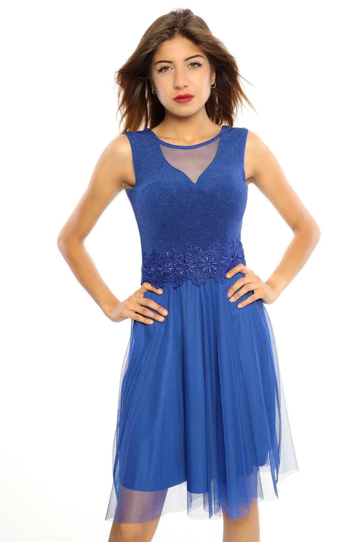 Simli Altı Tül Güpürlü Elbise Saks