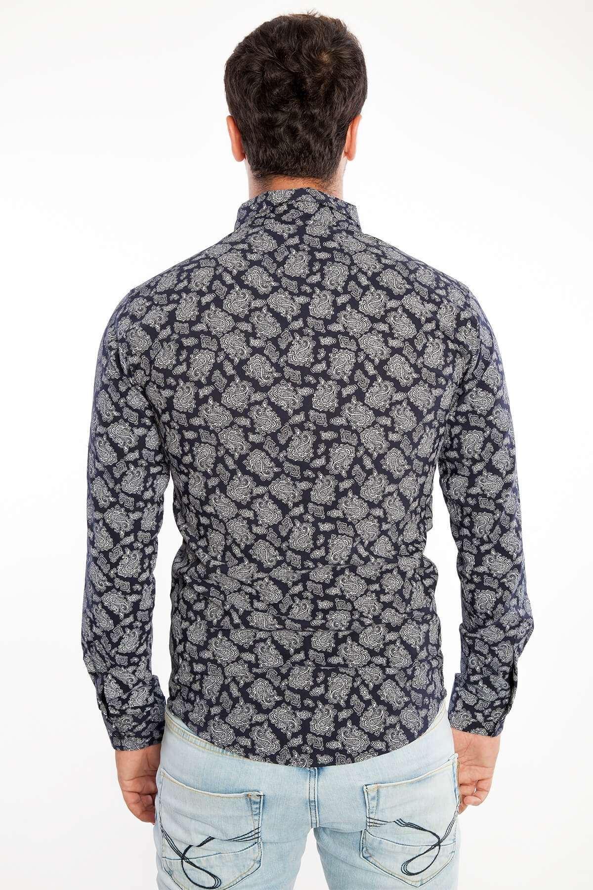 Şal Desenli Fit Gömlek Siyah