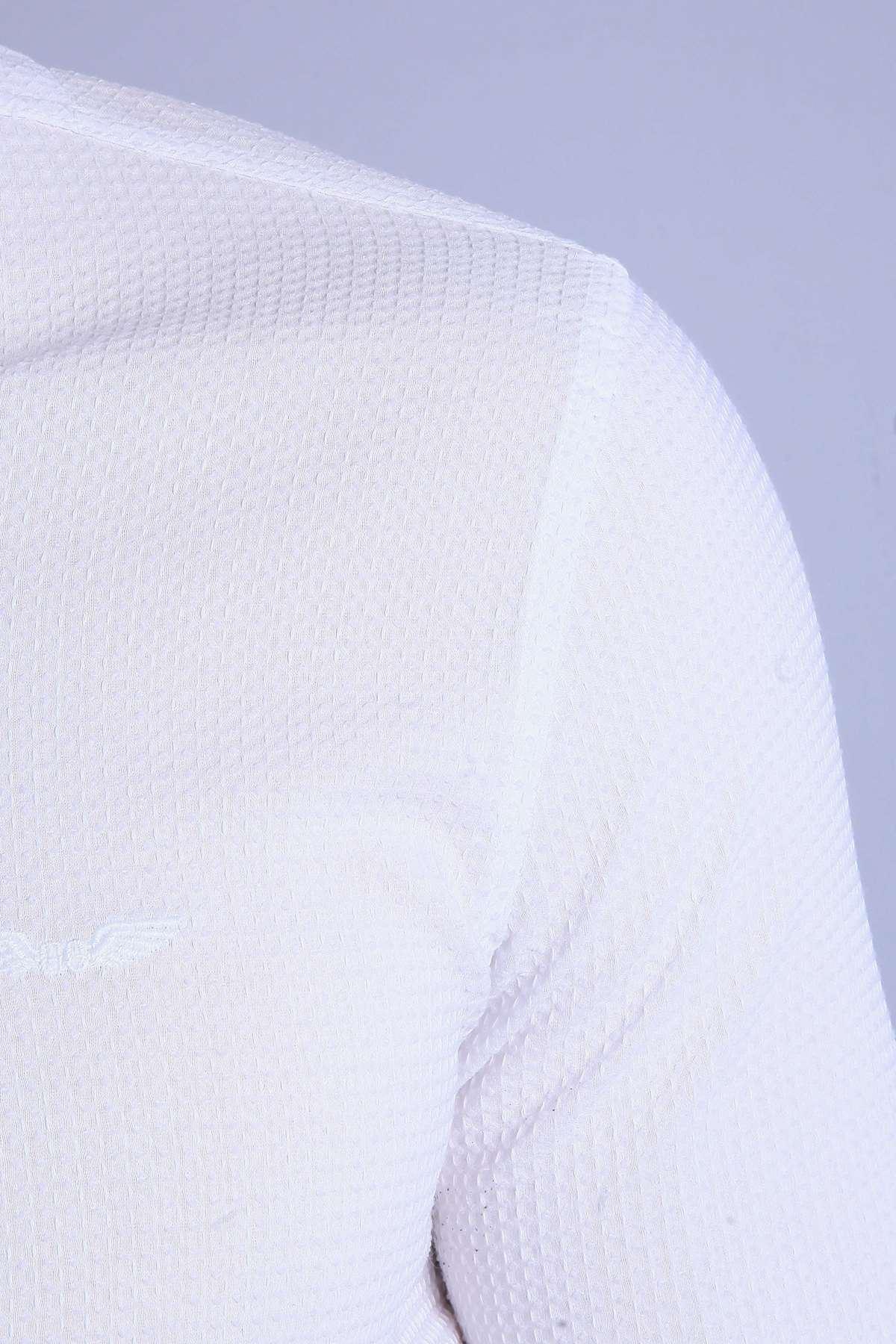 Slim Fit Gofre Kumaş Likralı Gömlek Beyaz