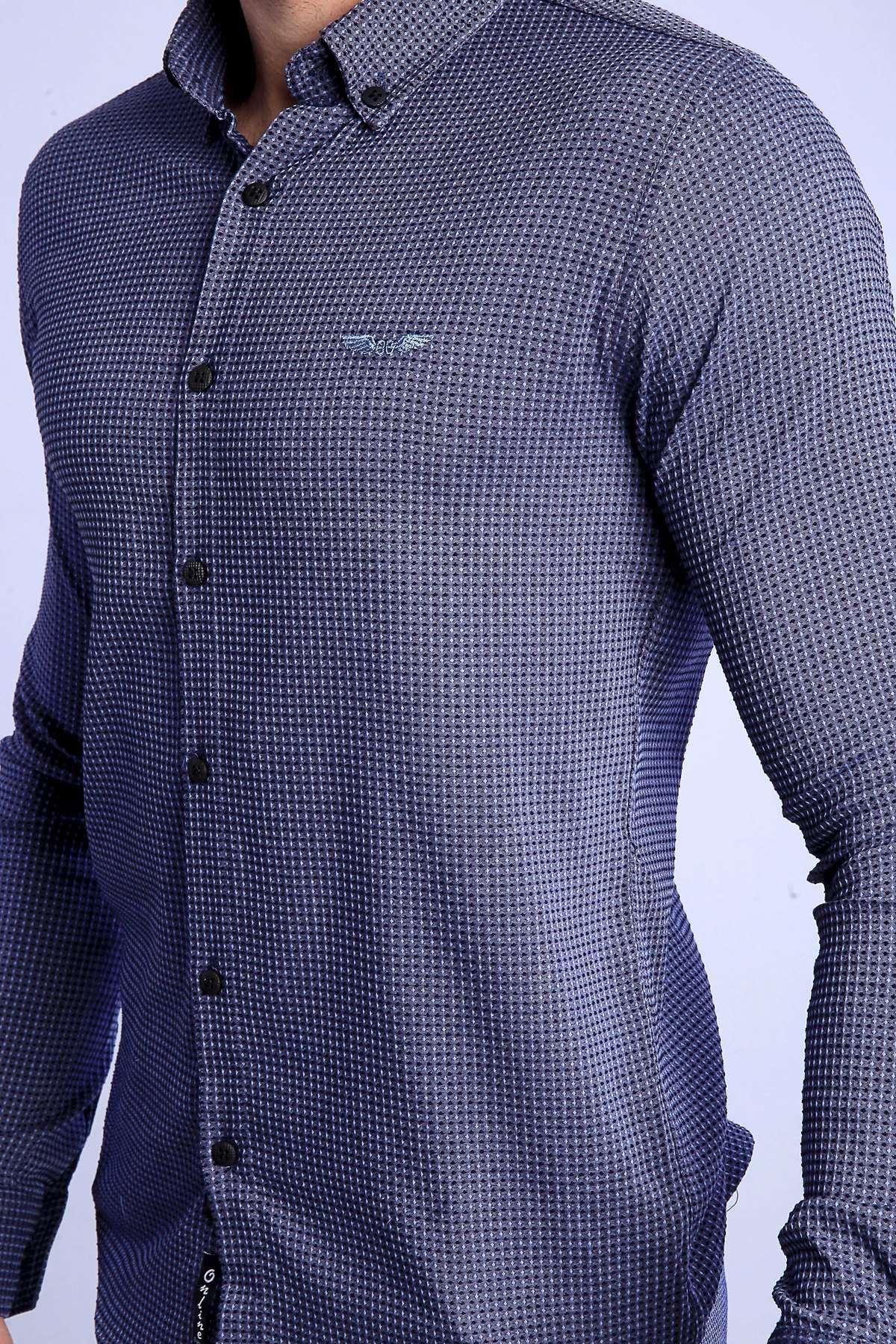 Slim Fit Gofre Kumaş Likralı Gömlek İndigo