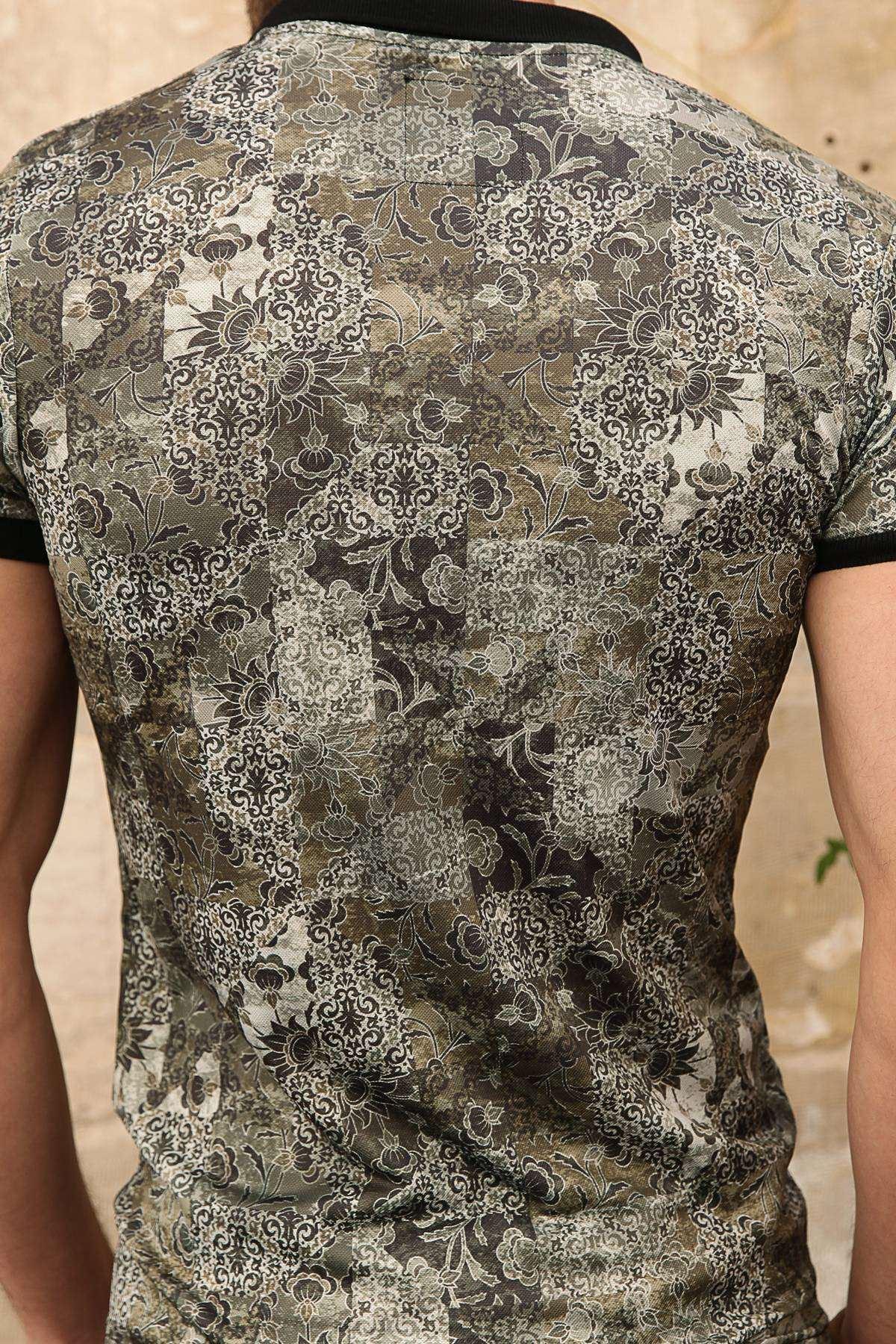Şal Desen Baskılı Dijital Polo Yaka Slim Fit Tişört Haki