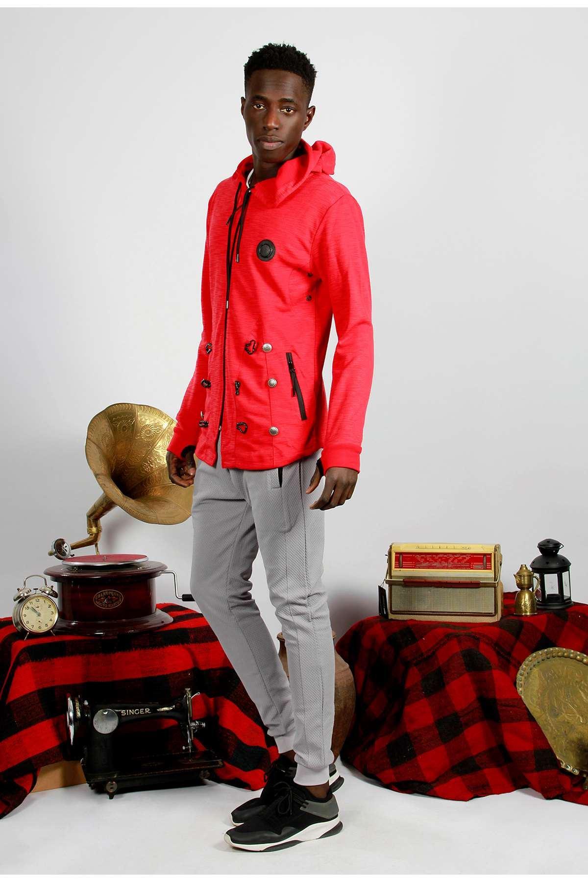 Süs Düğmeli Kapşonlu Sweatshirt Kırmızı