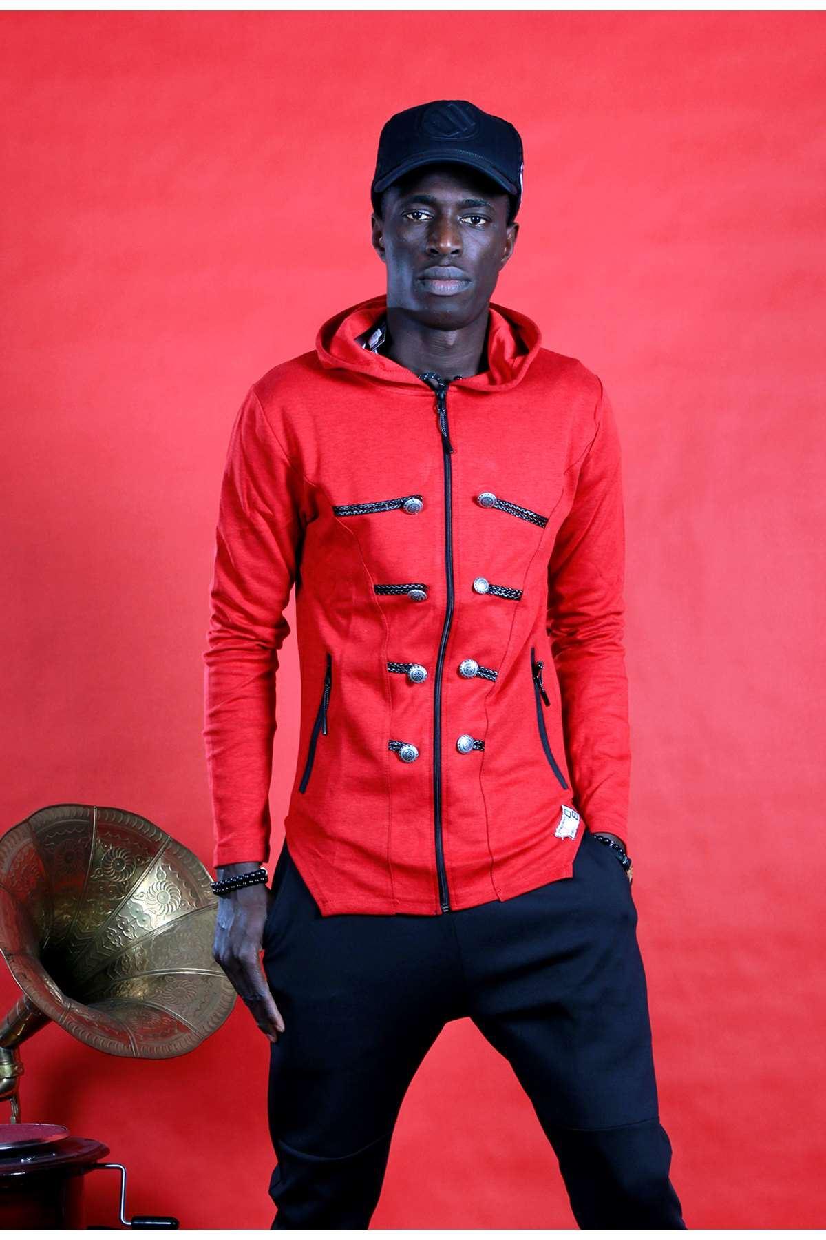 Süs Düğmeli Deri İpli Kapşonlu Sweatshirt Kırmızı
