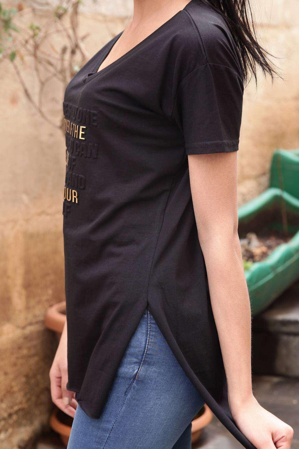 That İs Your Kabartma Yazı Baskı Detaylı Kısa Kol Tunik Siyah