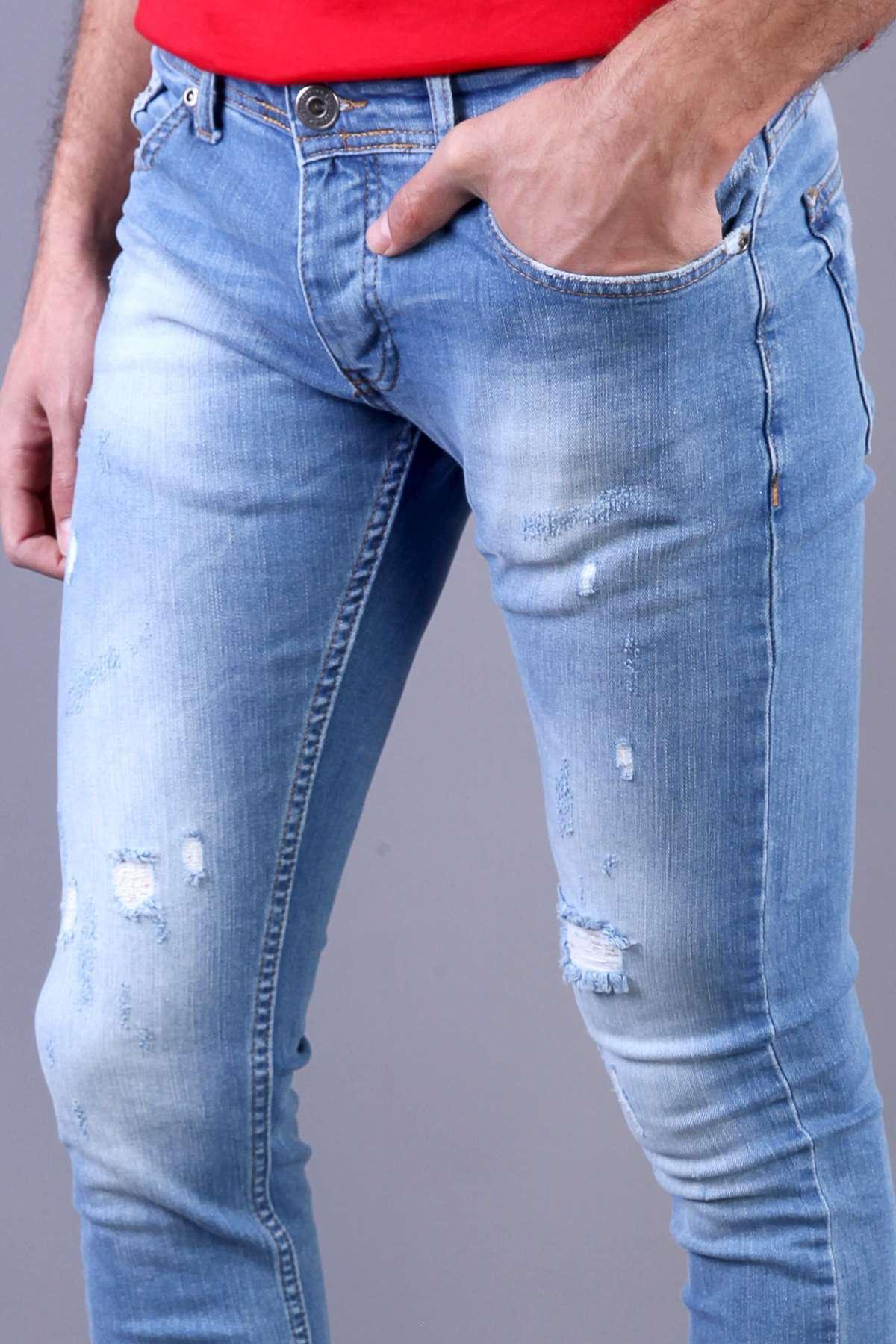 Taşlamalı Yırtıklı İp Yamalı Slim Fit Kot Pantolon Mavi