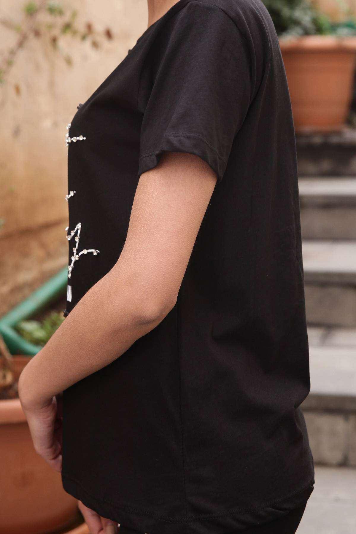Taşlı Dont Worry Yazı Detaylı Simit Yaka Tişört Siyah