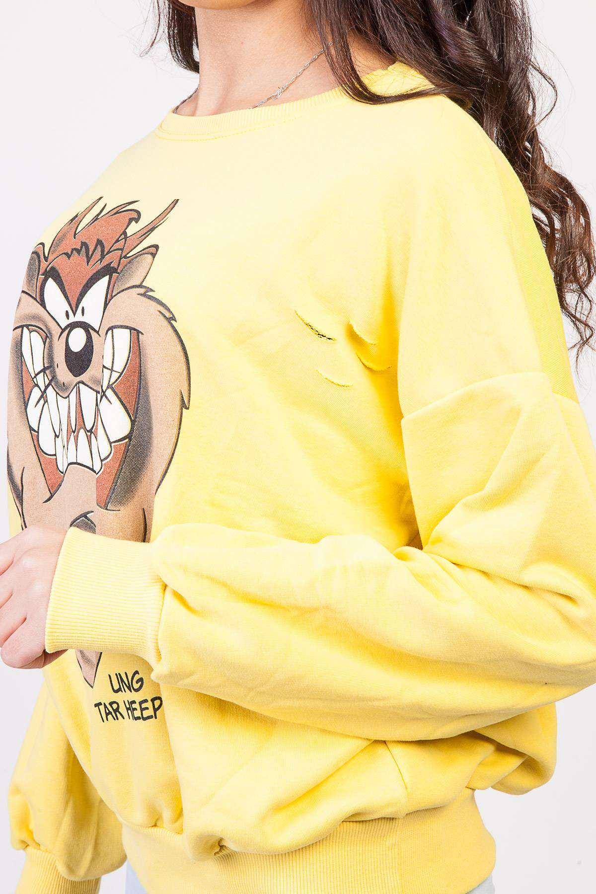 Tazmania Canavarı Baskı Detaylı Simit Yaka Sweatshirt Sarı