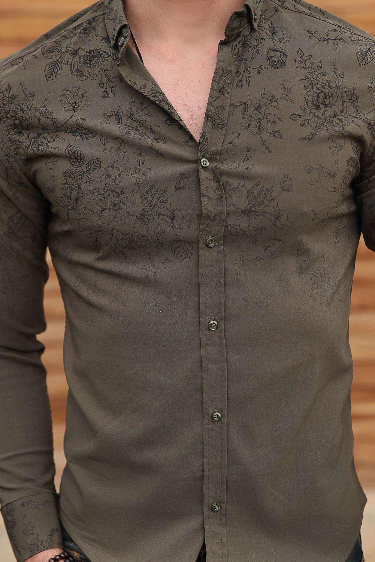 Üst Çiçek Baskılı Klasik Yaka Slim Fit Gömlek Haki