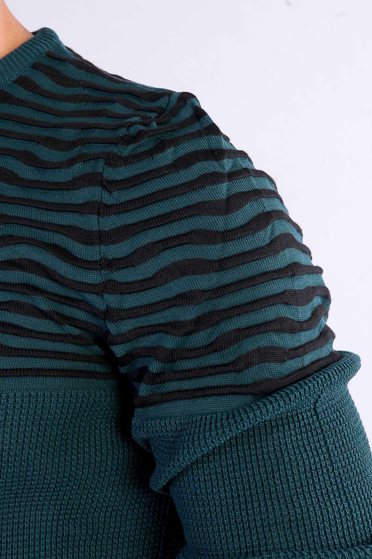 Üst Çizgili Altı Petek Triko Yeşil