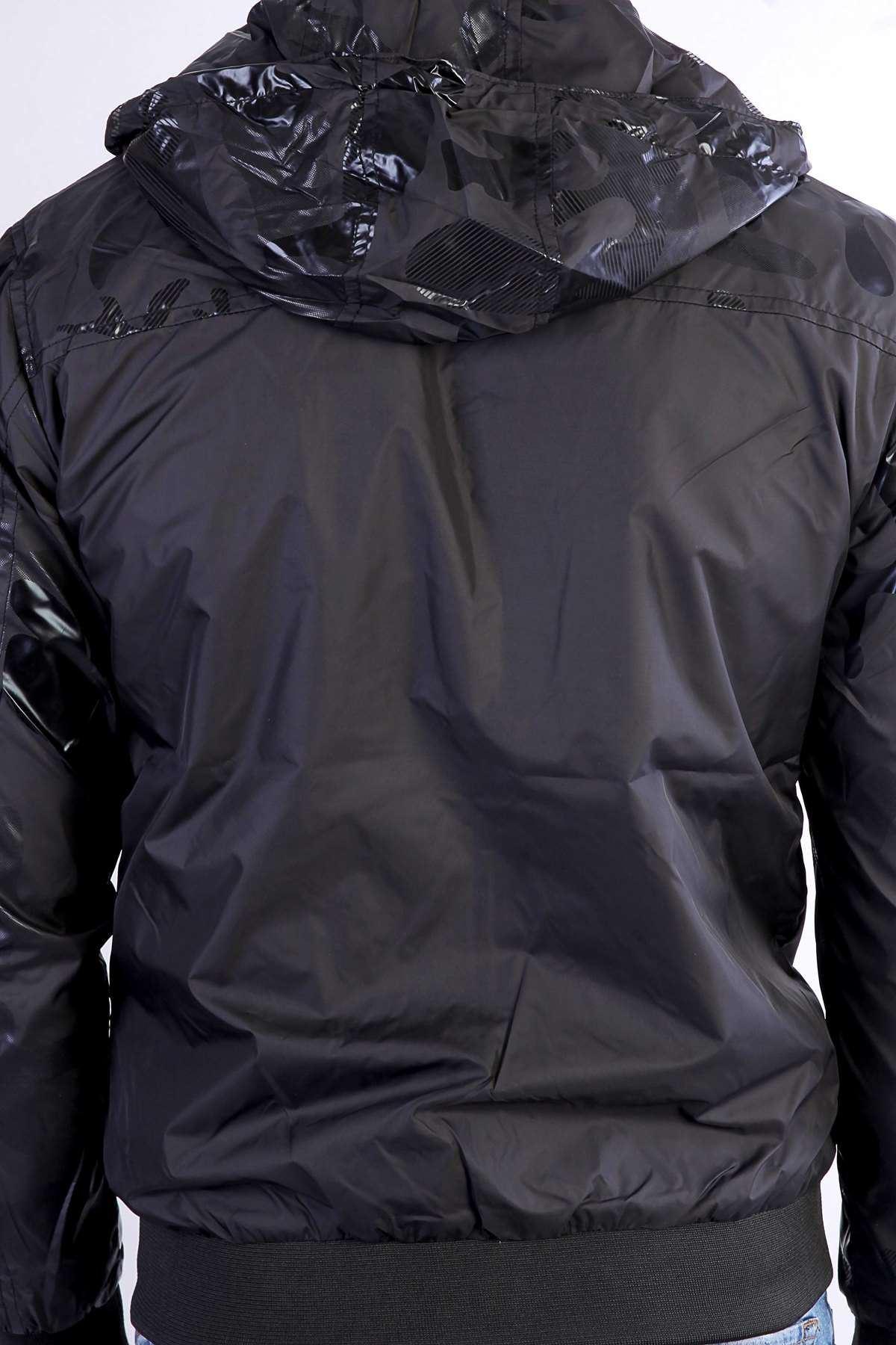 Üst Ve Kolları Kamuflaj Baskılı Kapşonlu Baharlık Pilot Mont Siyah