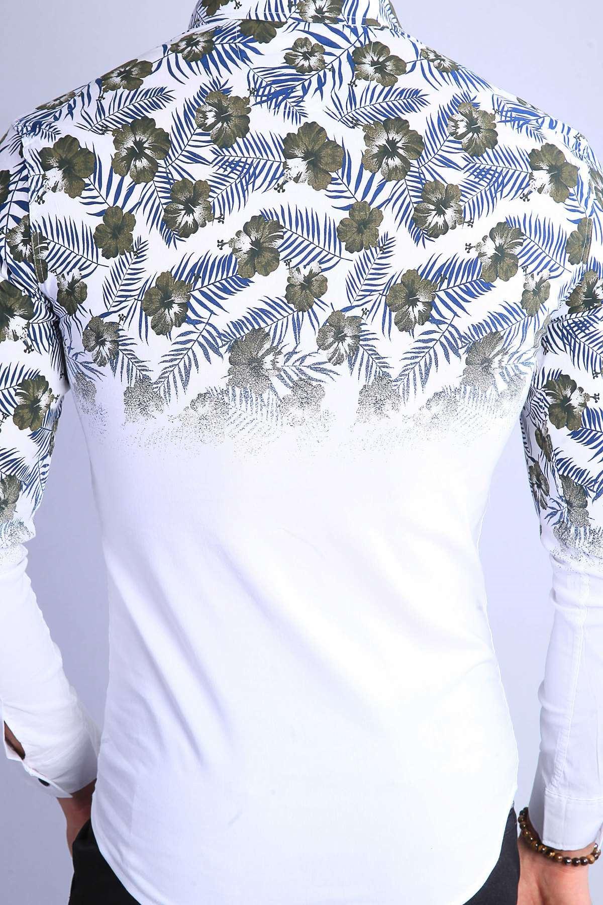 Üstü 5 Yaprak Çiçek Desenli Slim Fit Gömlek Beyaz-Haki