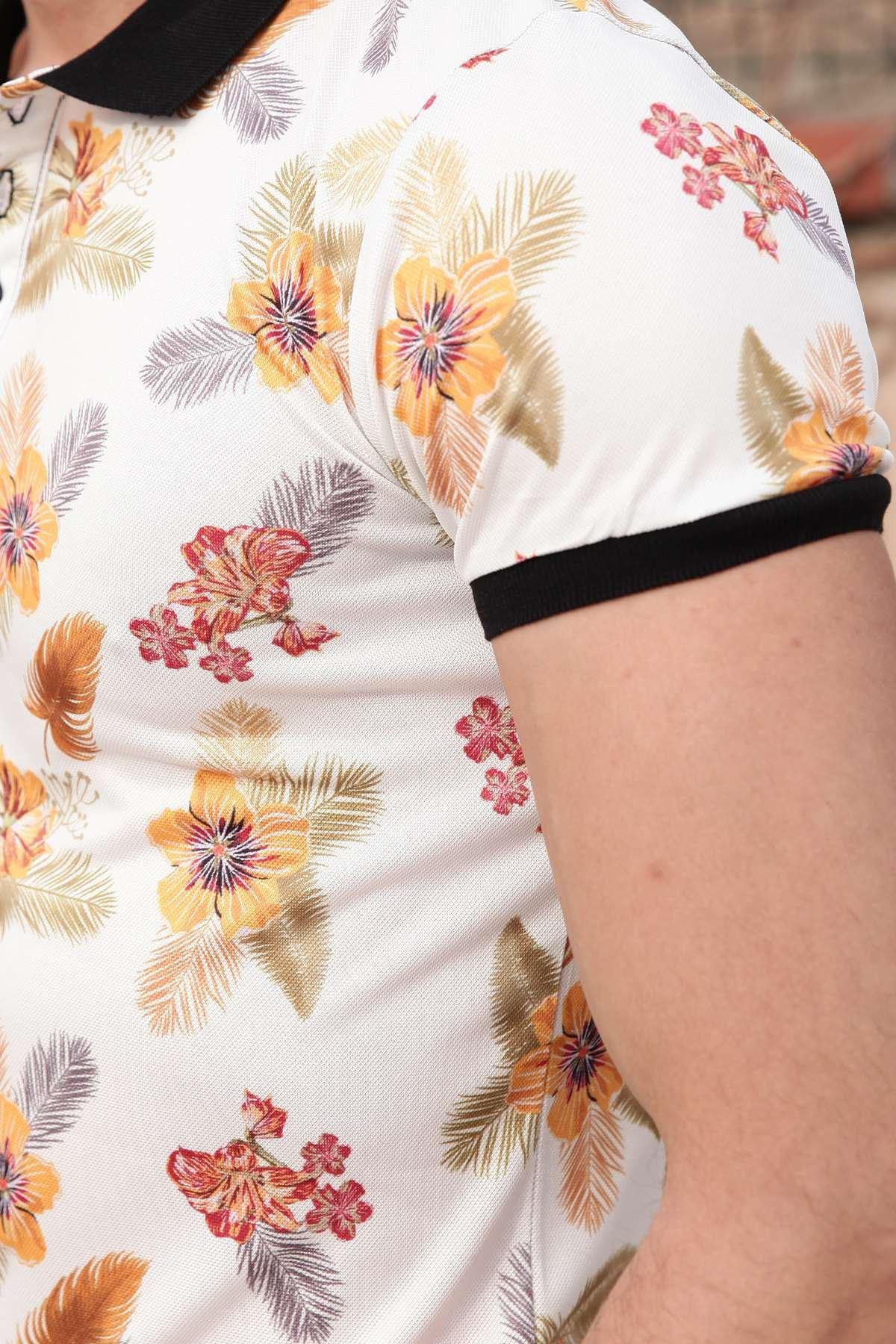 Tüy Ve Çiçek Baskılı Dijital Polo Yaka Tişört Ekru
