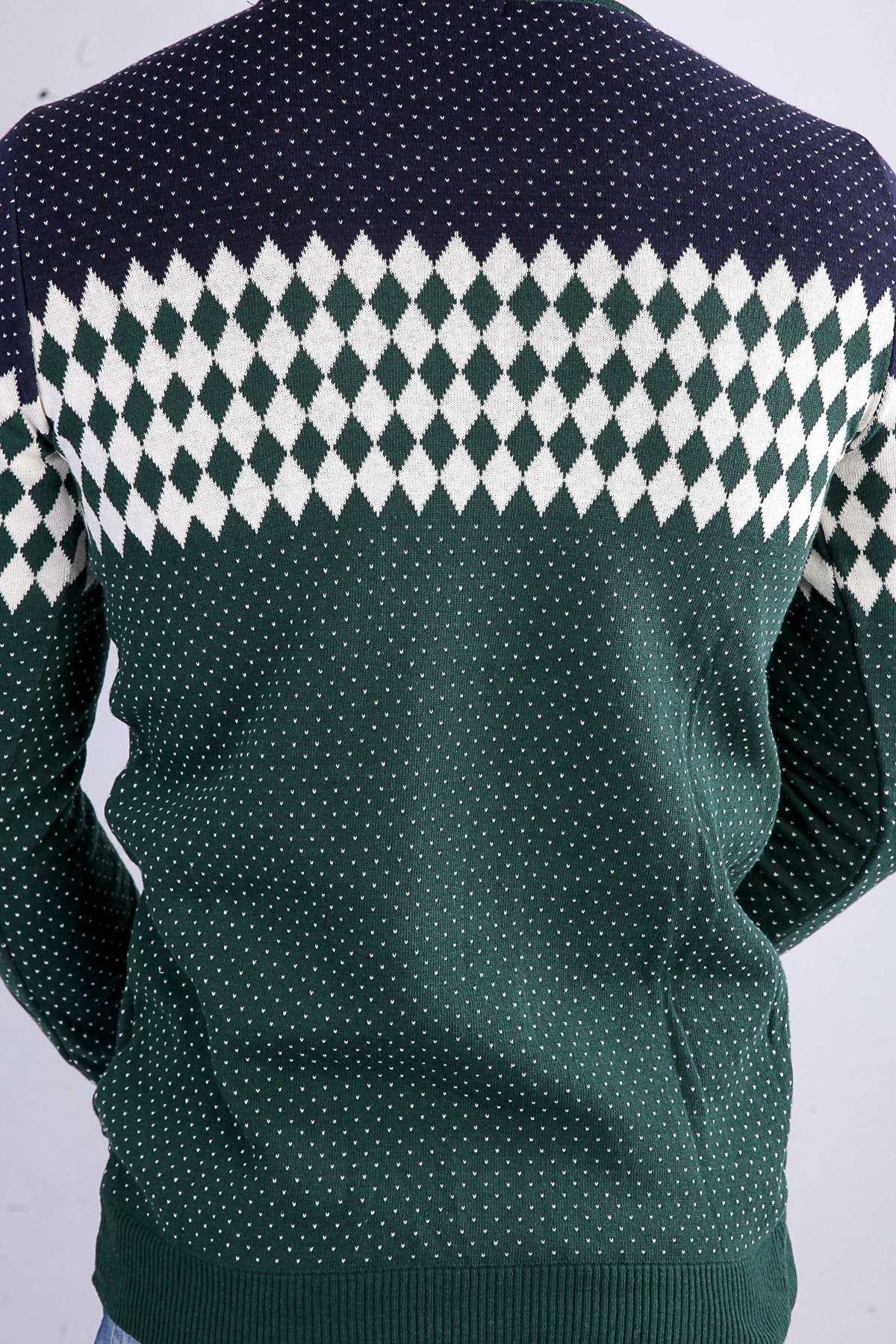 Üst Desenli Alt Noktalı Sıfır Yaka Triko Yeşil-Beyaz