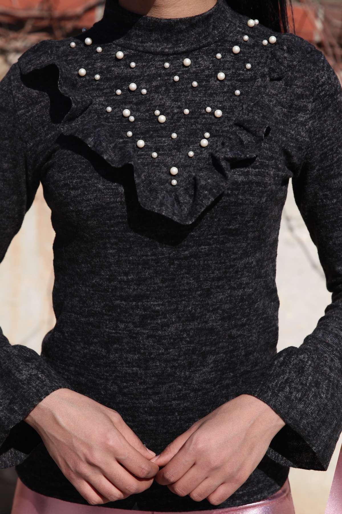Yaka Fırfır Ve İncili Kol Ucu Detaylı Yumoş Bluz Siyah
